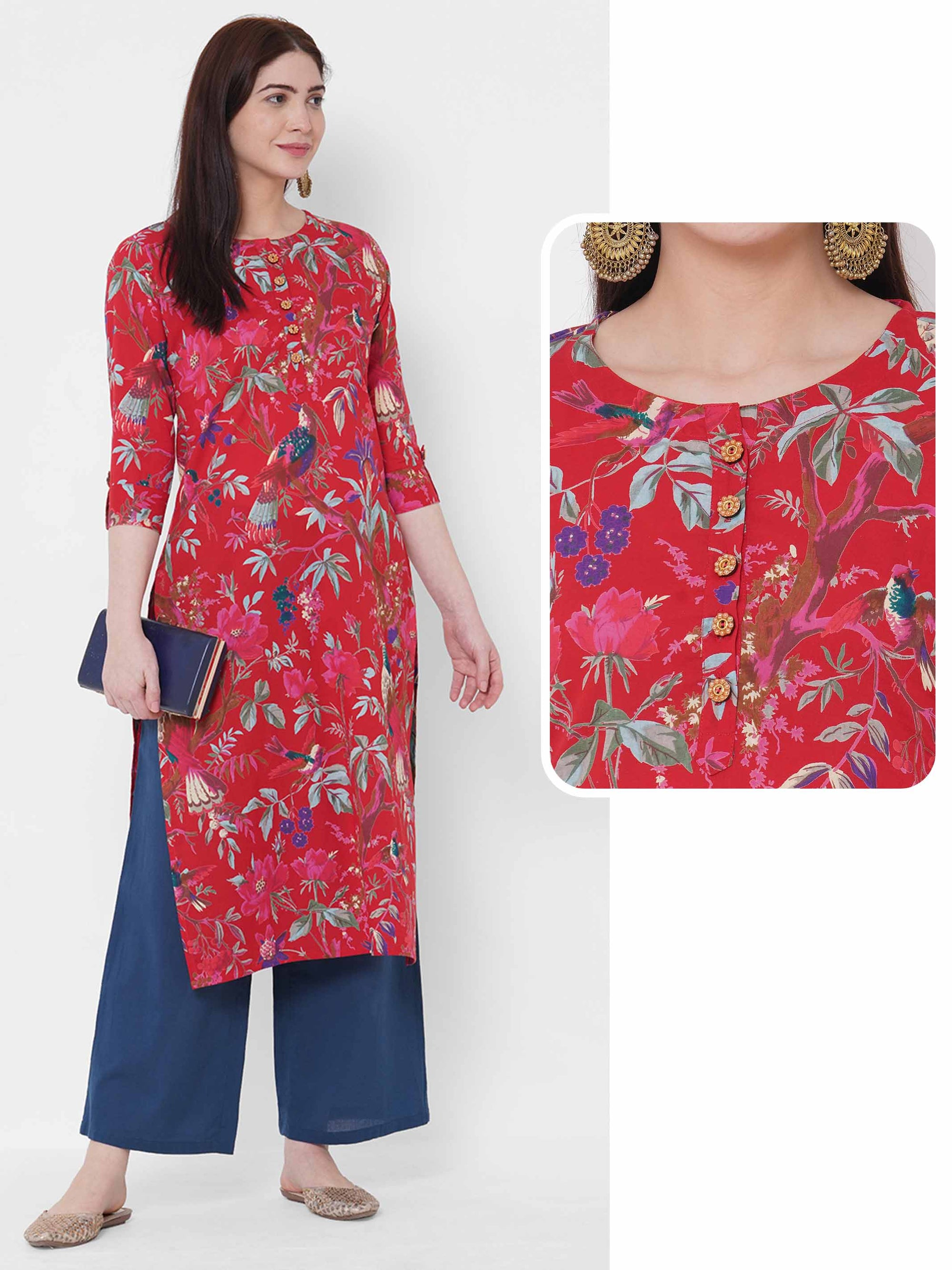Floral & Bird Printed Straight Kurta - Red
