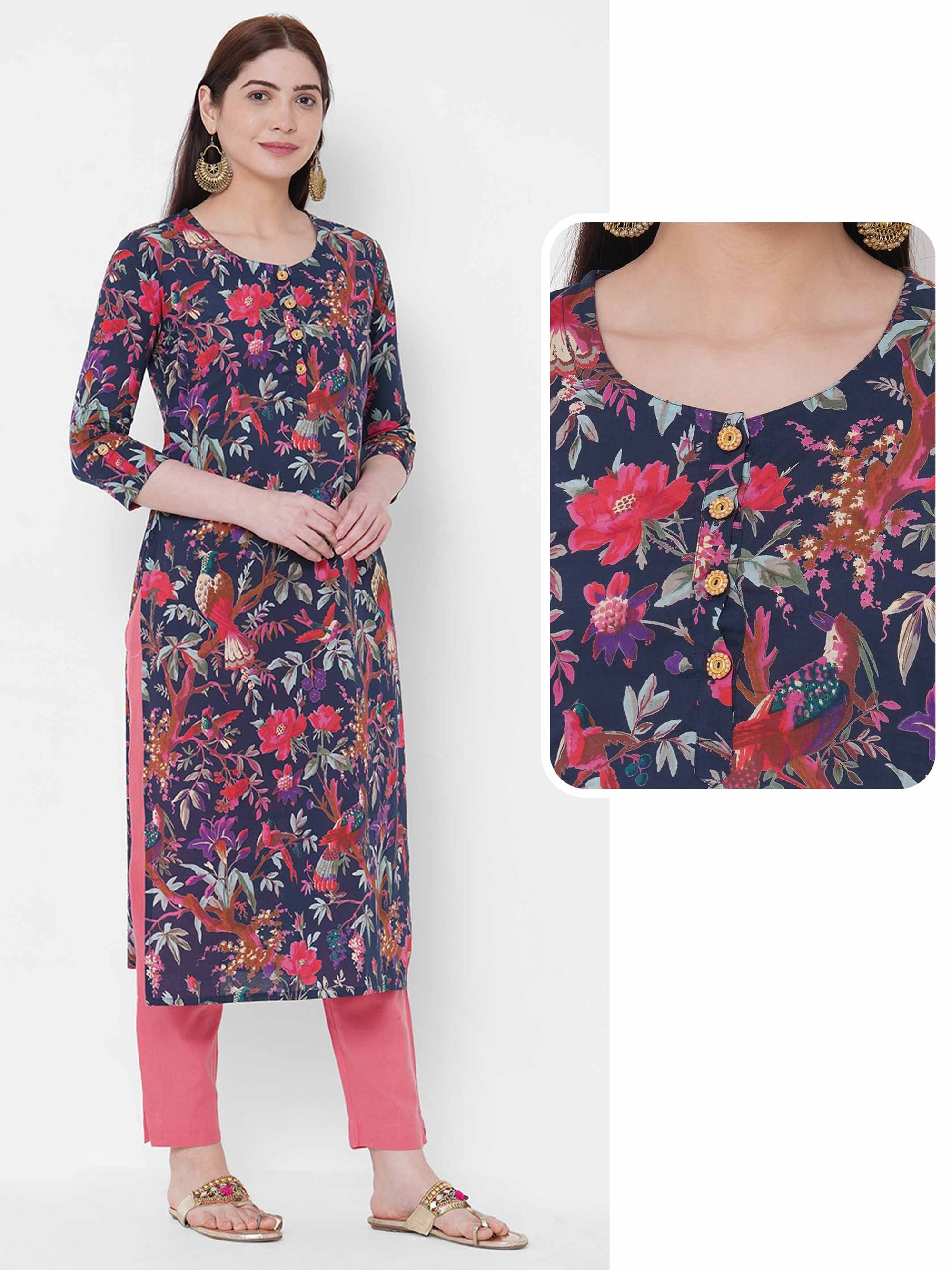 Floral & Bird Printed Straight Kurta - Blue
