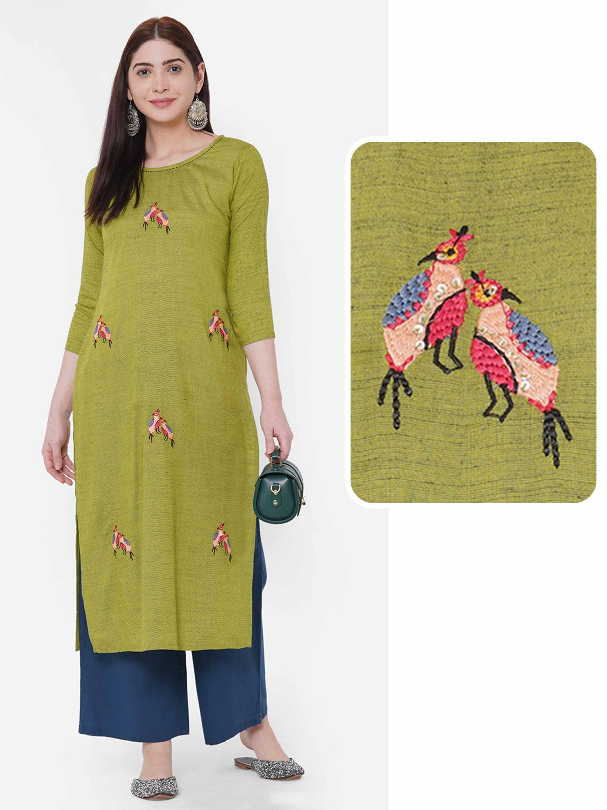 Peacock Hand Embroidered Straight Kurta - Green