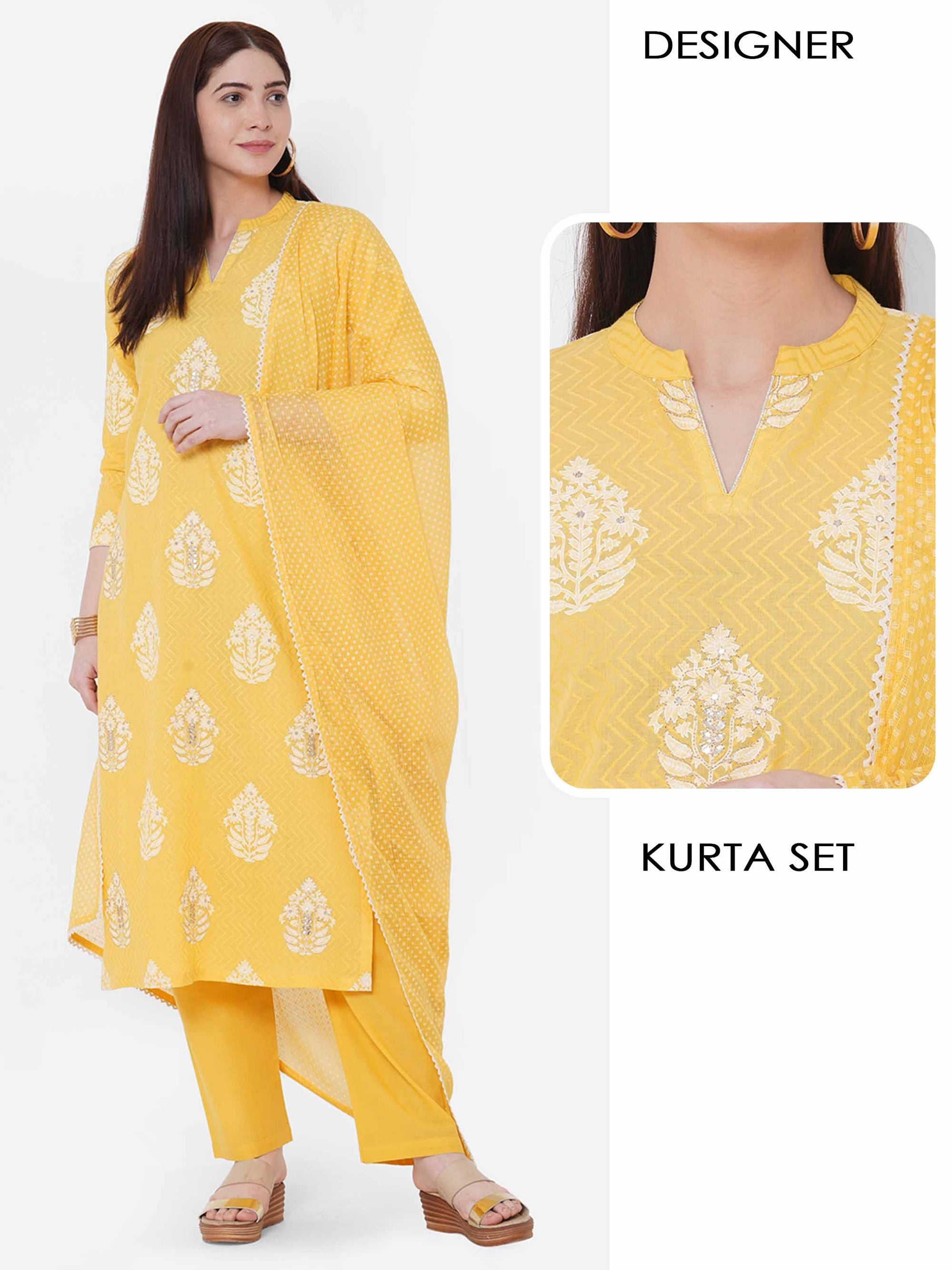 Khari Printed & Embellished Kurta with Solid Pant with Polka Dots Dupatta – Yellow