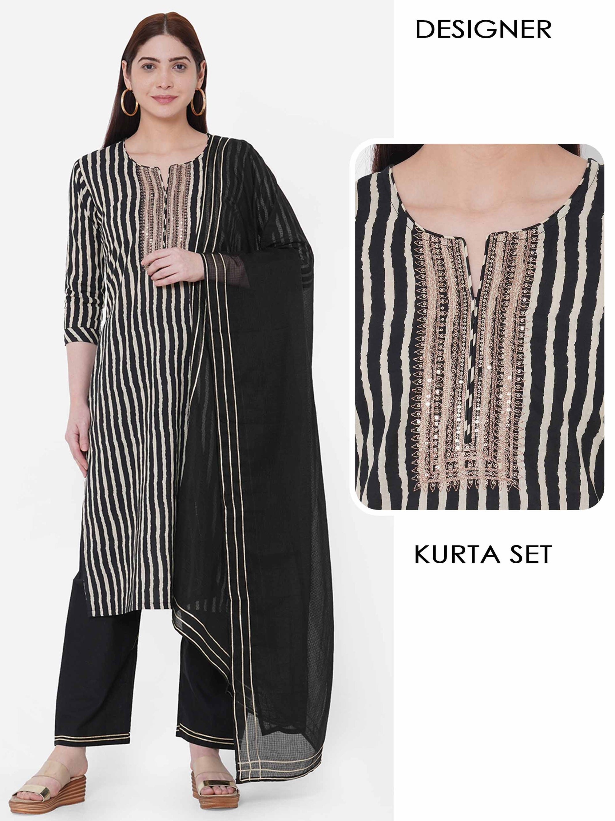 Stripes Printed & Embellished Kurta with Solid Pant with Solid Dupatta – Black