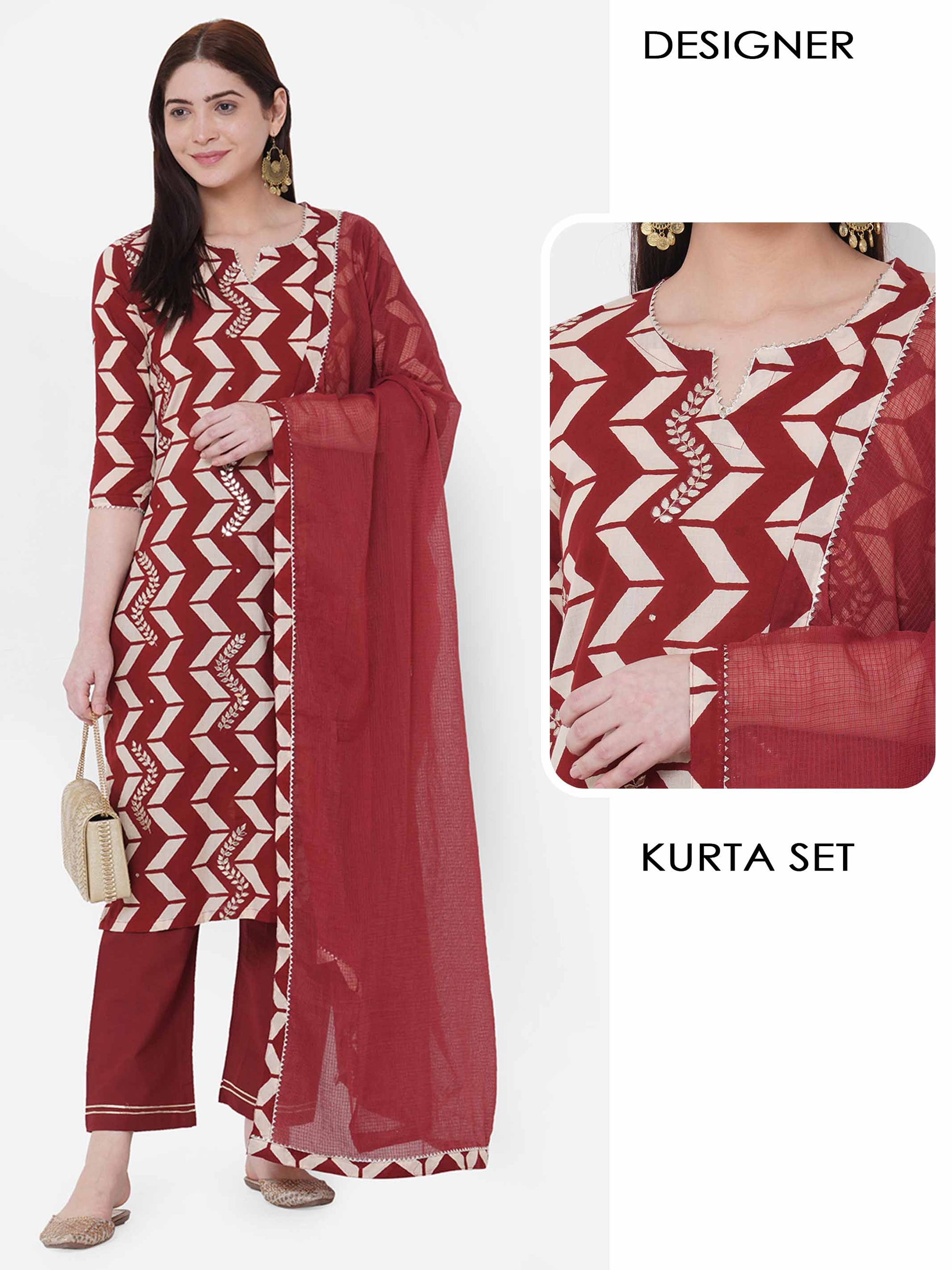 Vertical Chevron Printed & Gota Embellished Kurta with Solid Pant with Solid Dupatta – Maroon