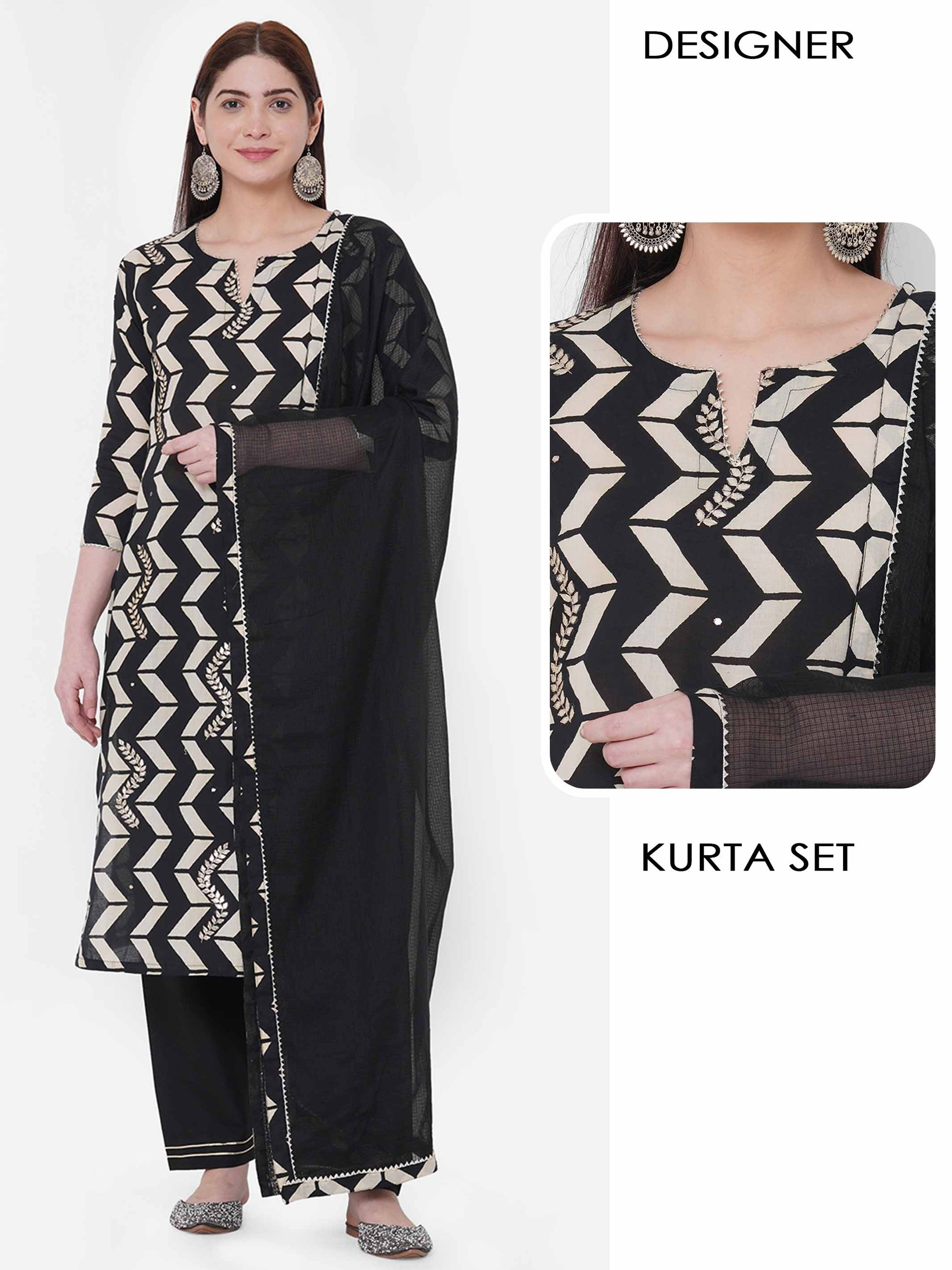 Vertical Chevron Printed & Gota Embellished Kurta with Solid Pant with Solid Dupatta – Black