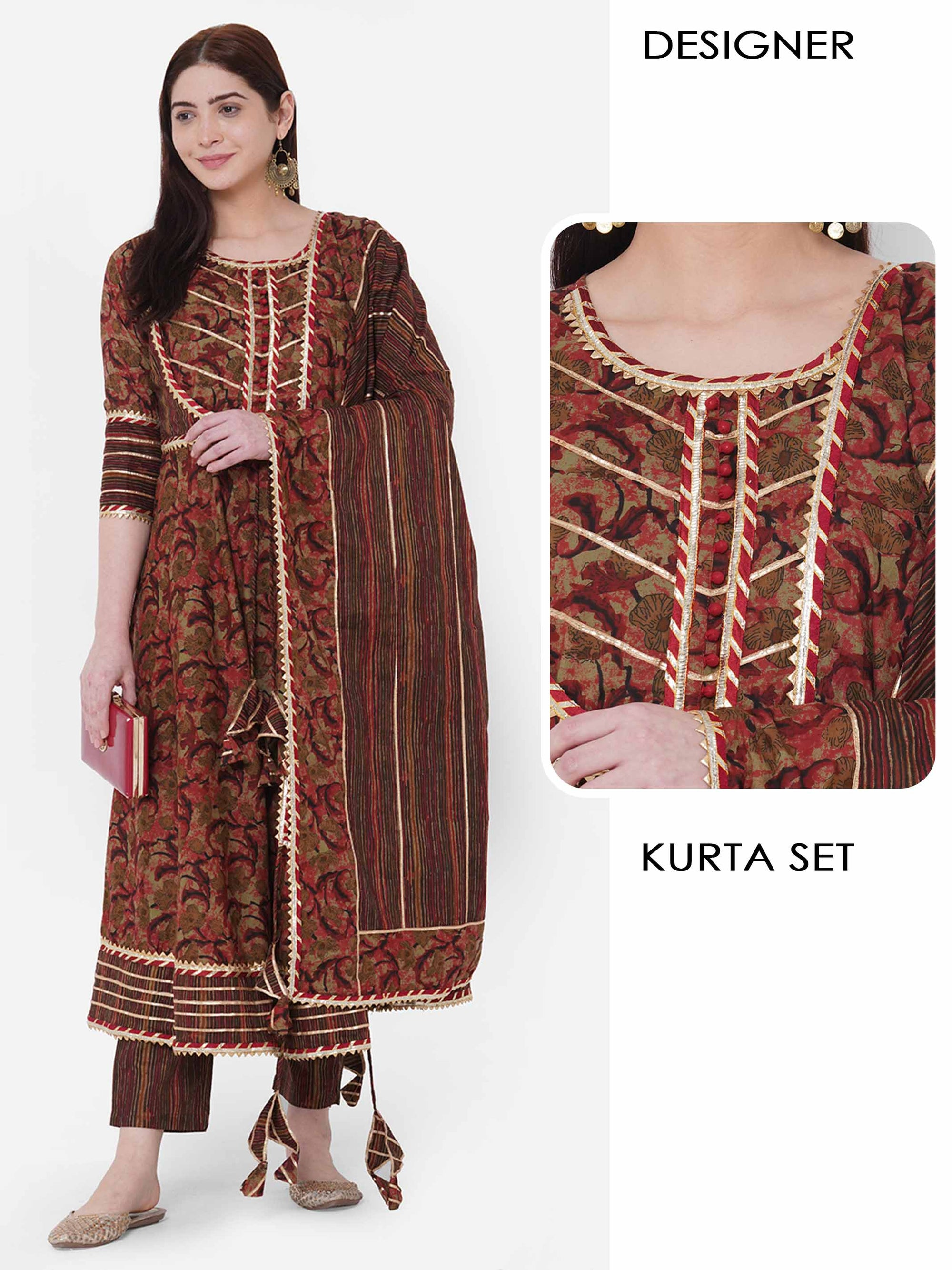 Floral Printed & Gota Embellished Kurta with Stripe Printed Pant & Dupatta – Brown