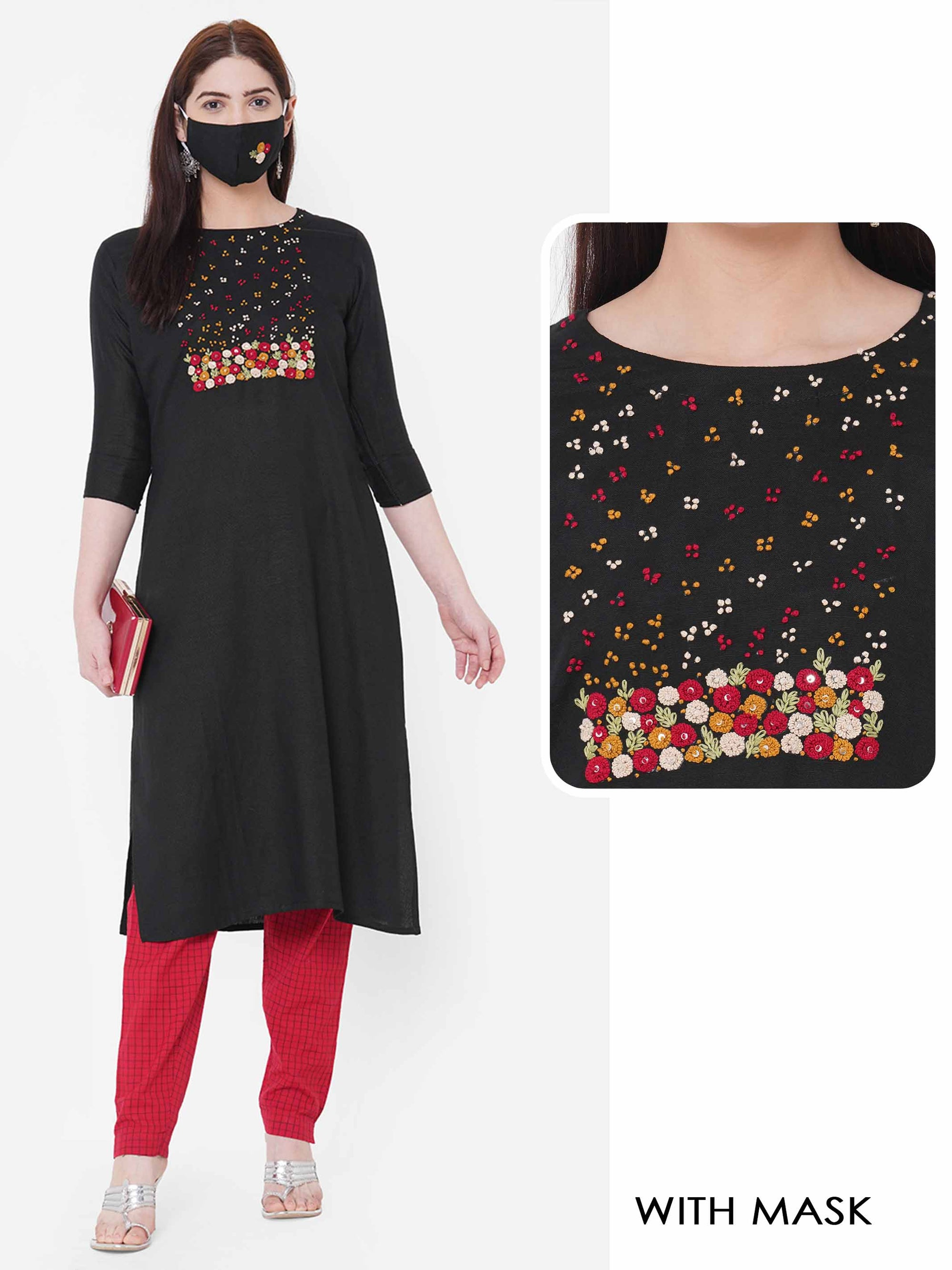 Floral Embroidered Kurta with Embroidered 2-Ply Mask - Black
