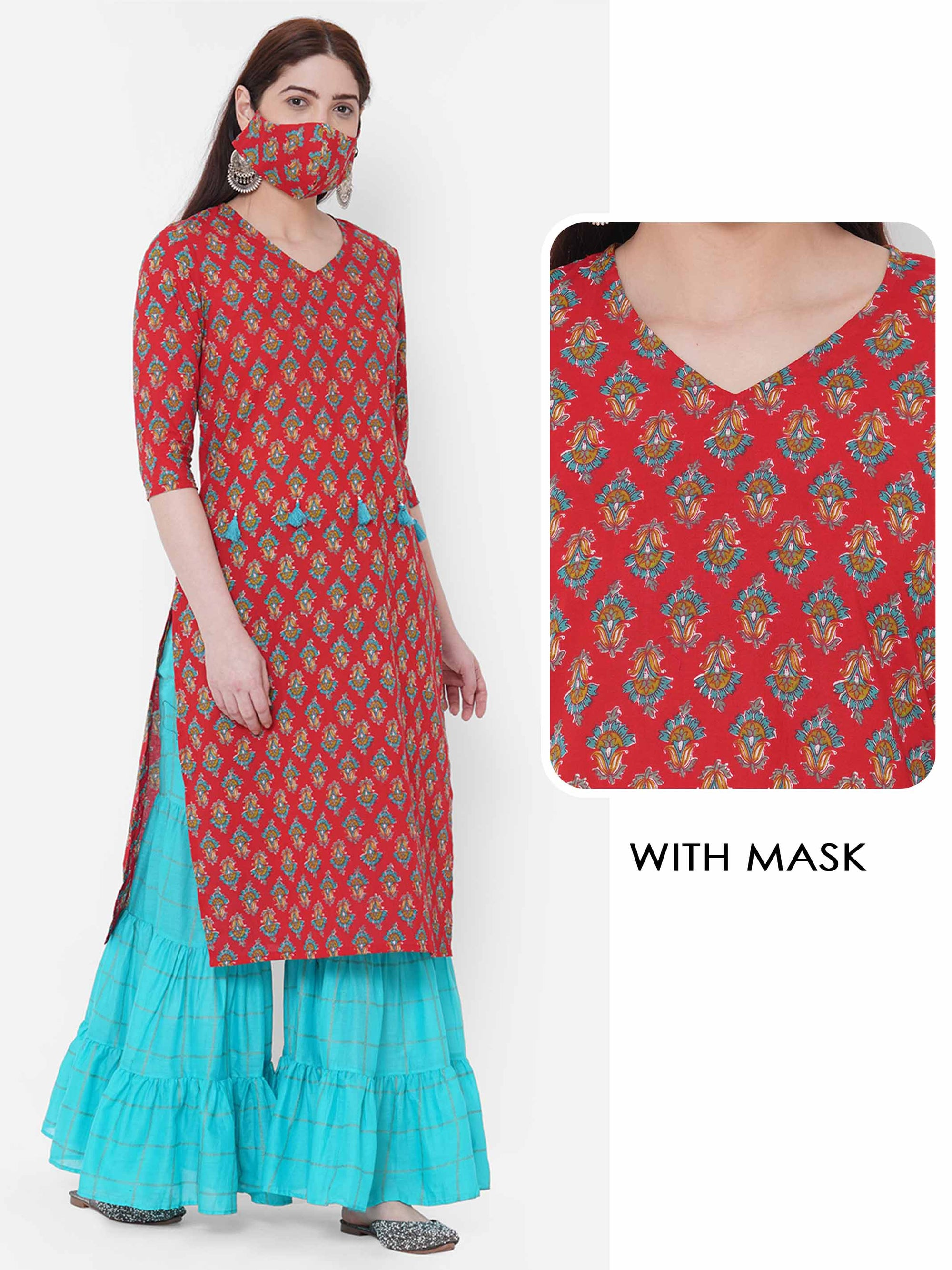 Floral block Printed Kurta with 2-Ply Mask - Red
