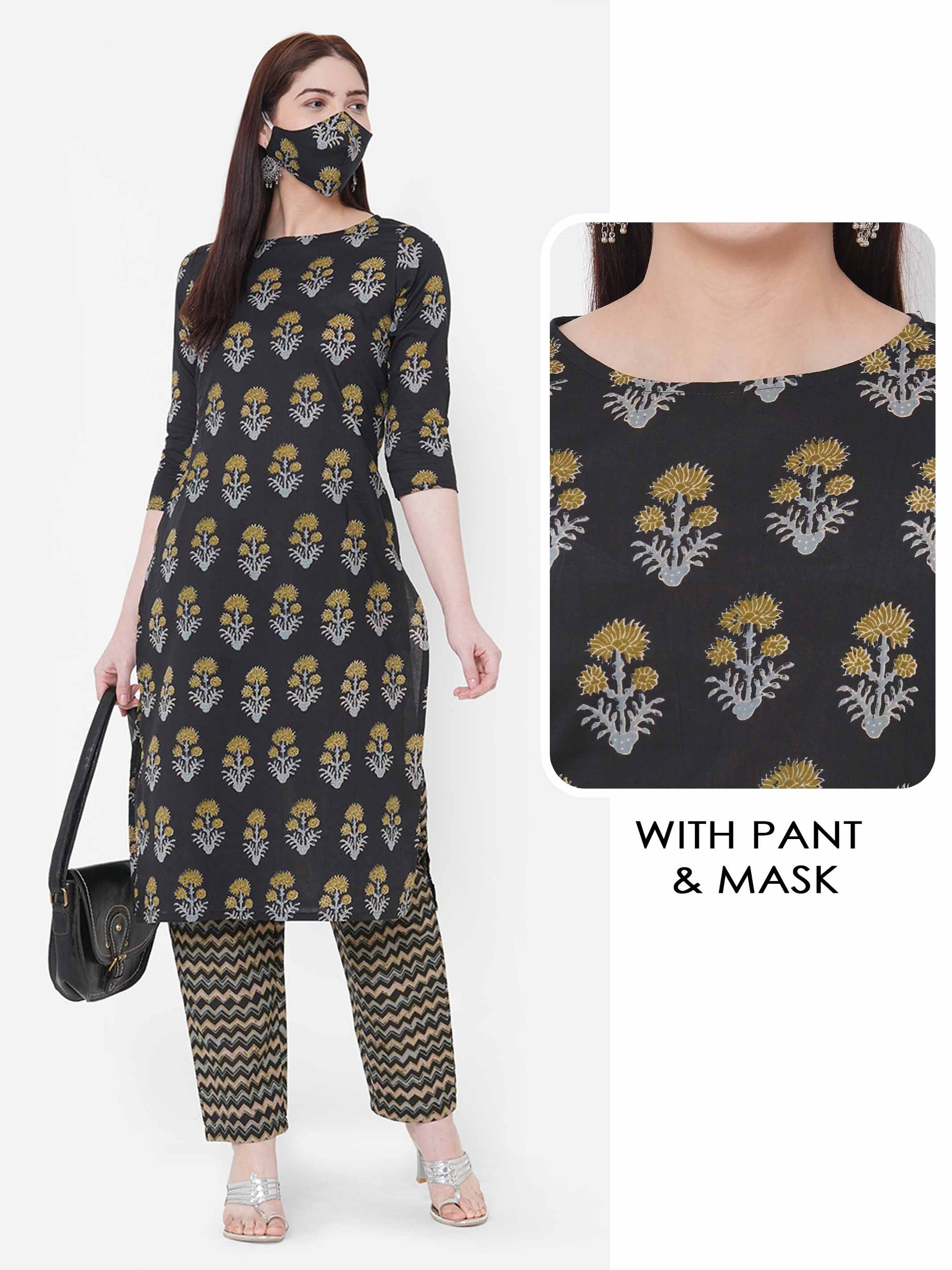 Floral printed Kurta with Chevron Printed Pant with 2 Ply Mask – Grey