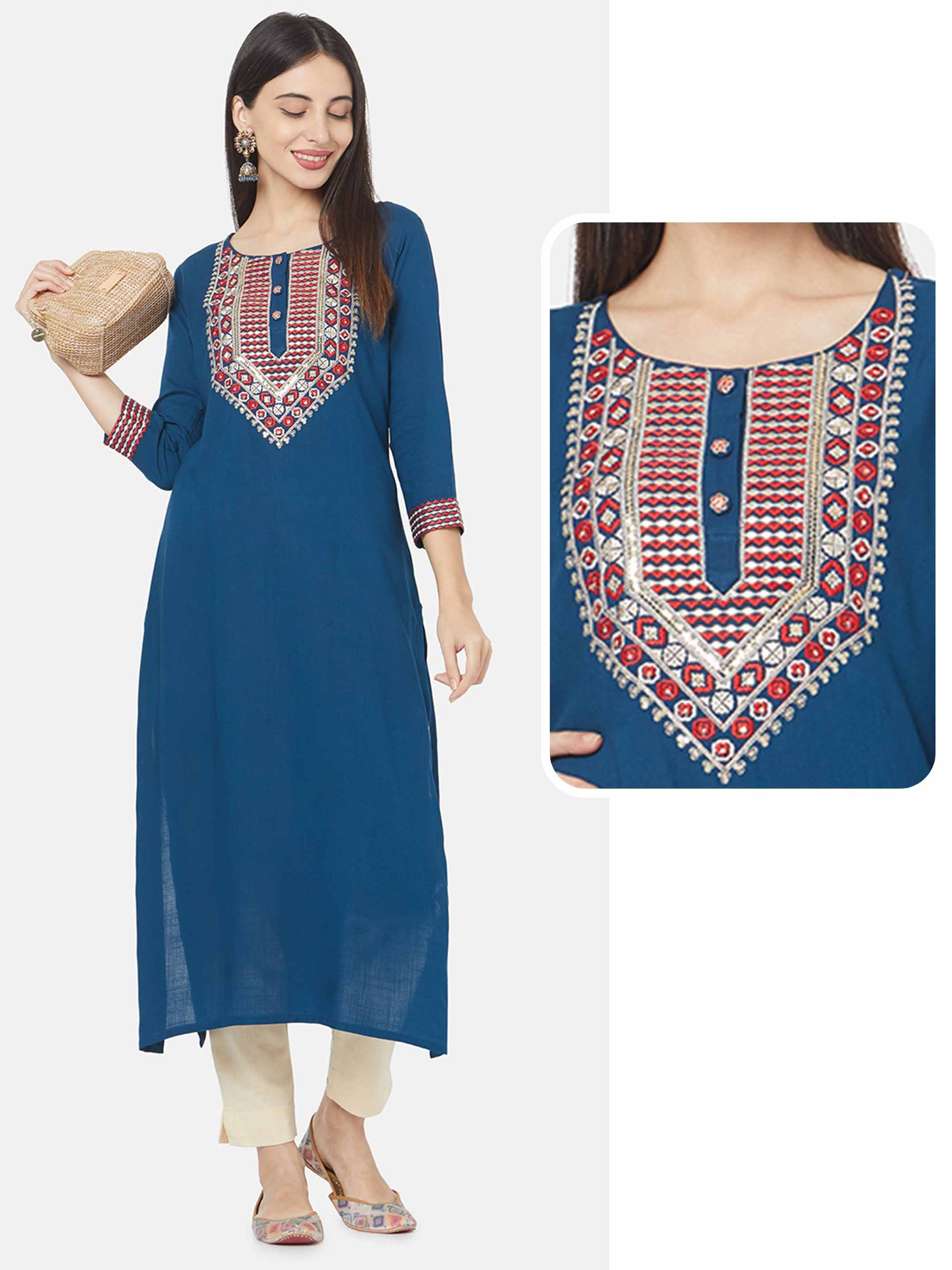 Heavy Embroidered Yoke Straight Kurta – Teal