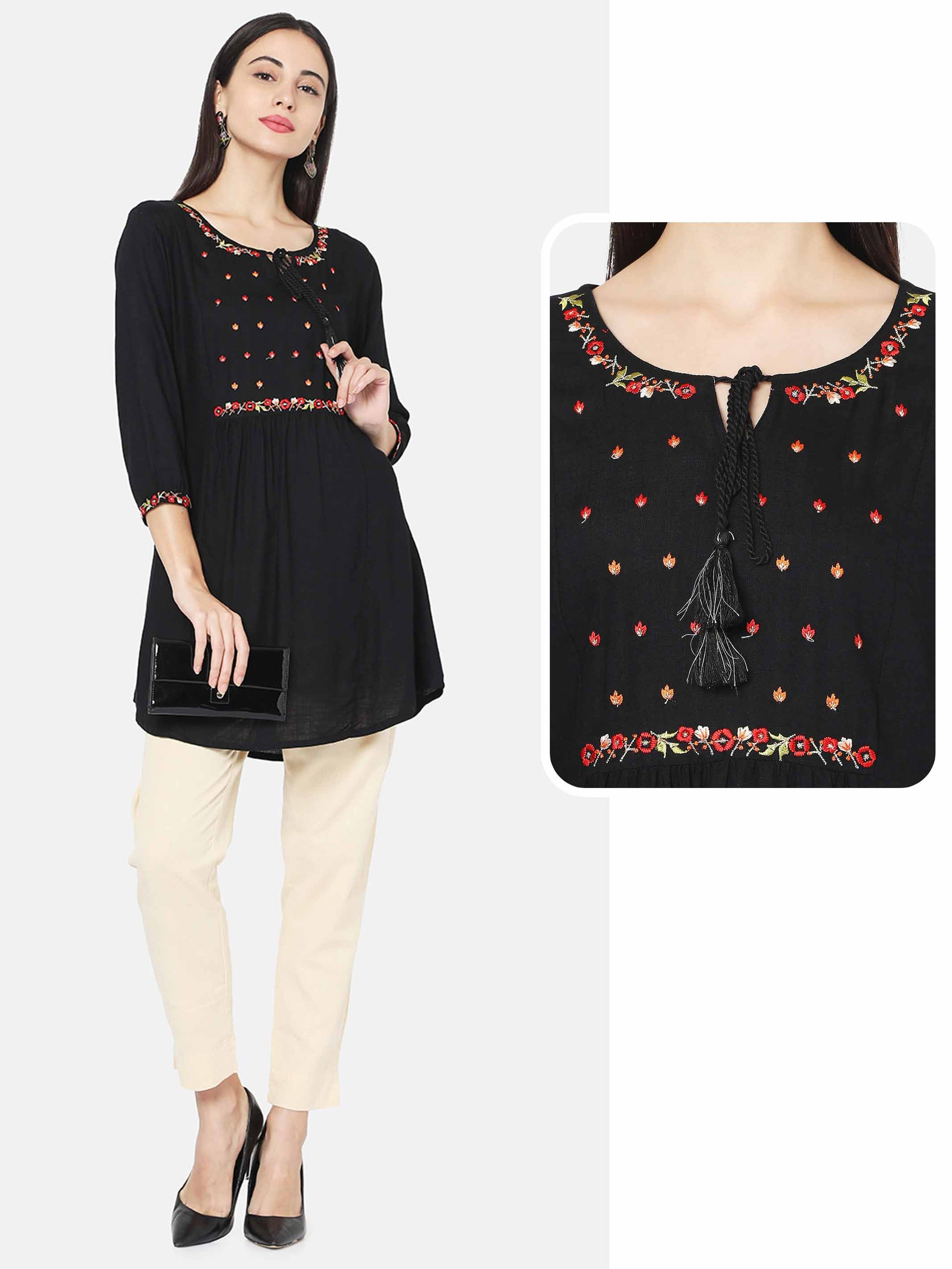 Floral Embroidered A-Line Kurti With 2-Ply Mask – Black