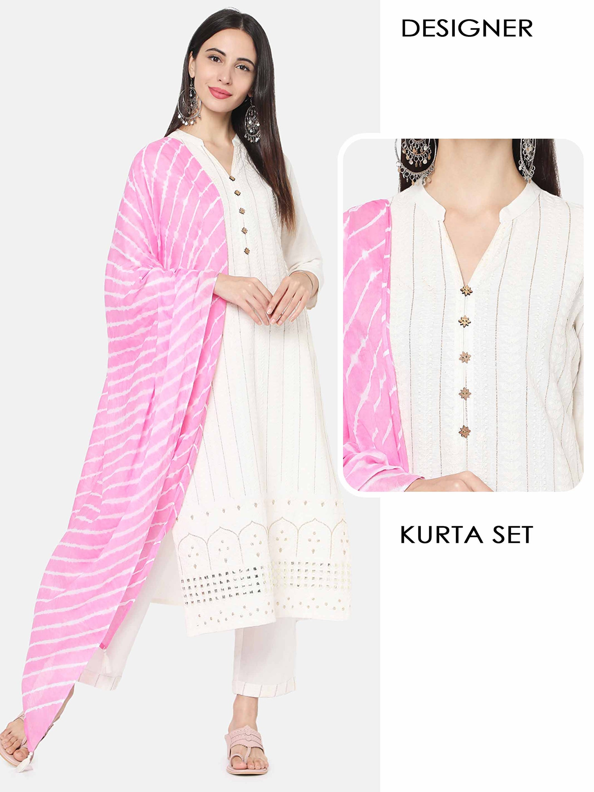 Chikankari Embroidered Kurta with Solid Pant with Tie-Dye Dupatta – Off-White