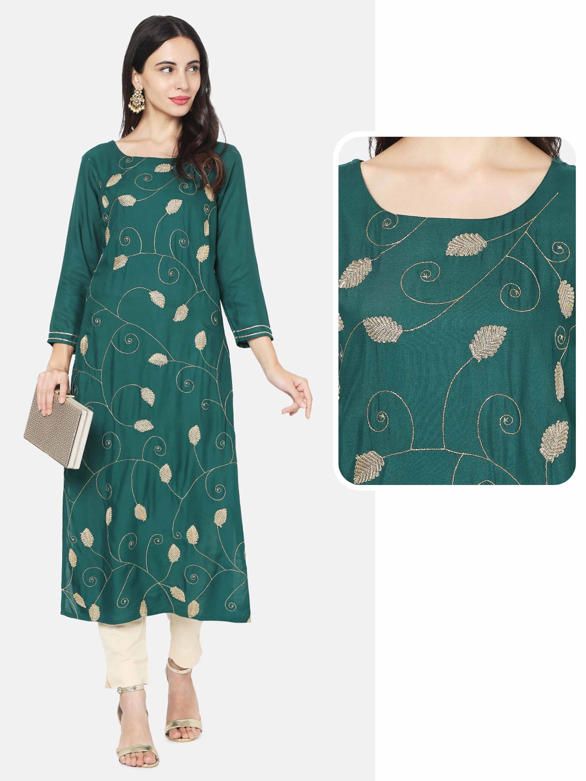Floral Zari Embroidered Straight Kurta – Bottle Green