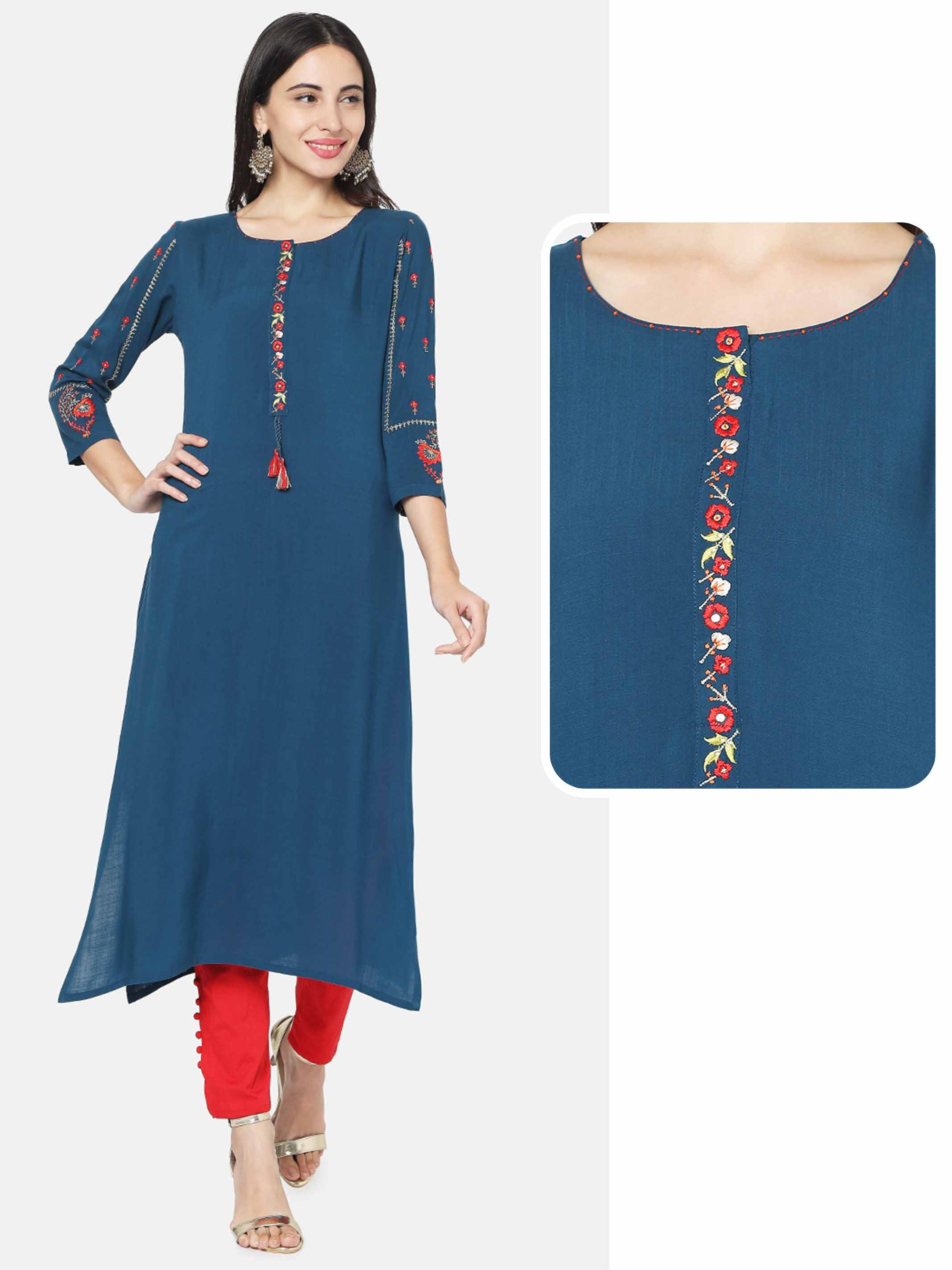 Floral Embroidered Straight Kurta With 2-Ply Mask  – Teal
