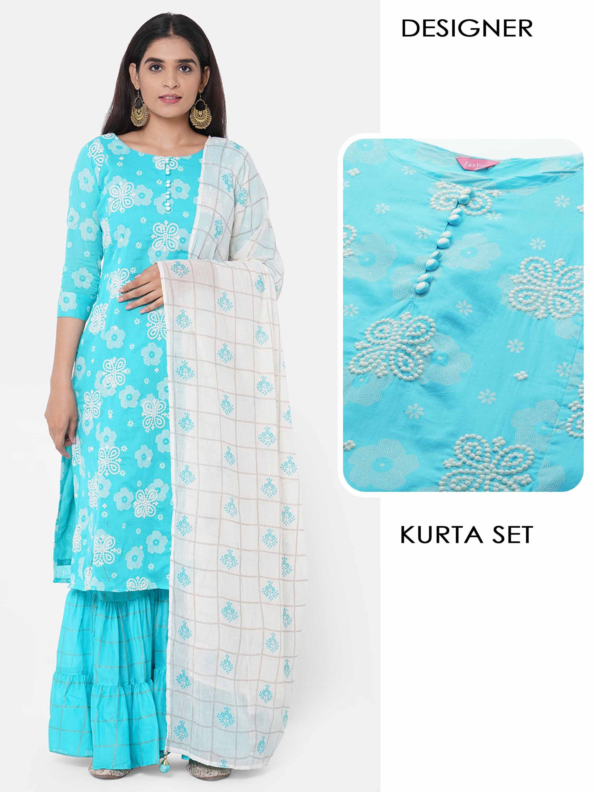 Floral Printed Kurta with Woven checks Sharara with Printed Dupatta – Turquoise