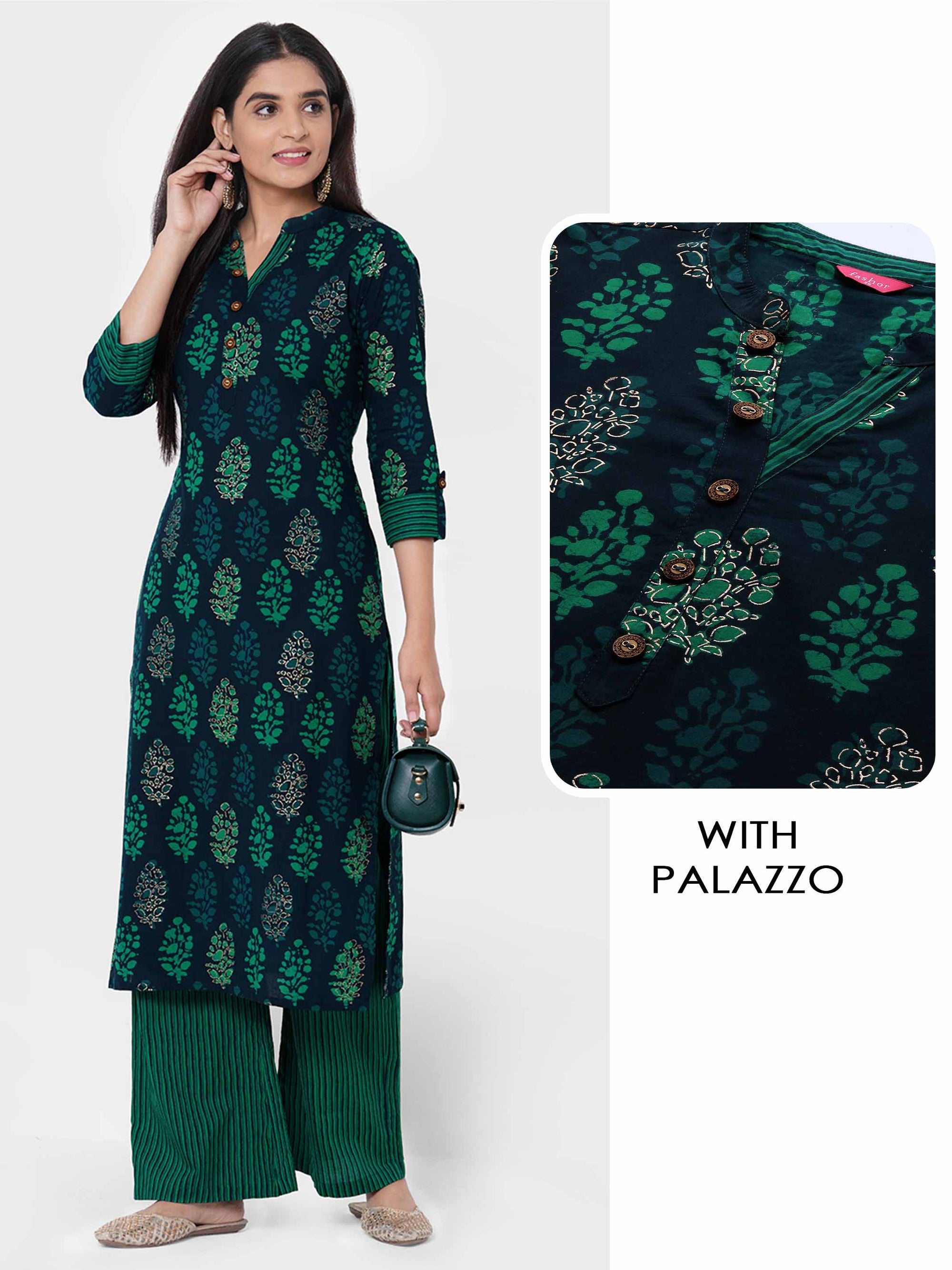 Floral Printed Kurta with Stripe Printed Palazzo – Green