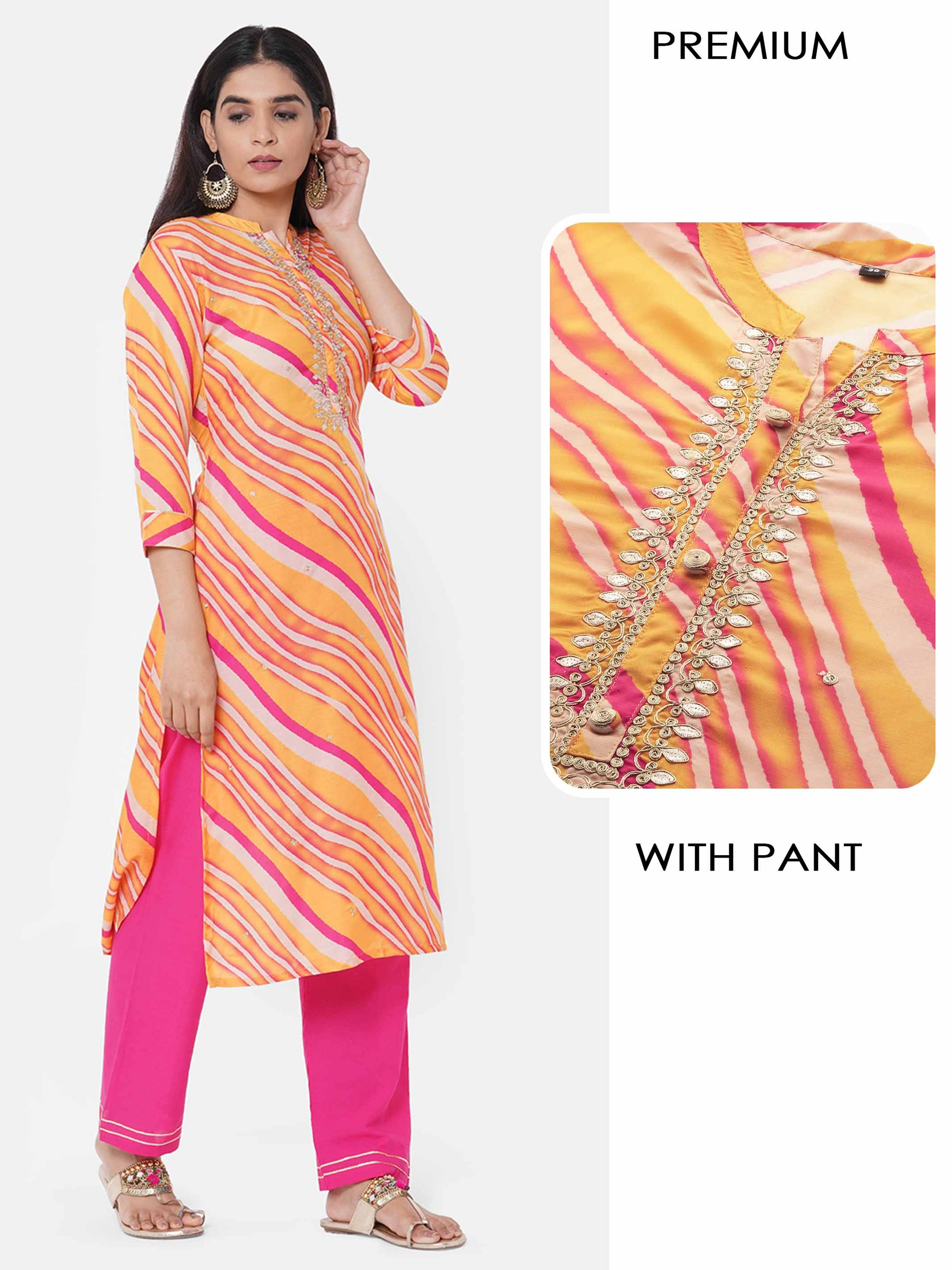 Lehariya Printed & Embellished Kurta with Solid Pant - Multi