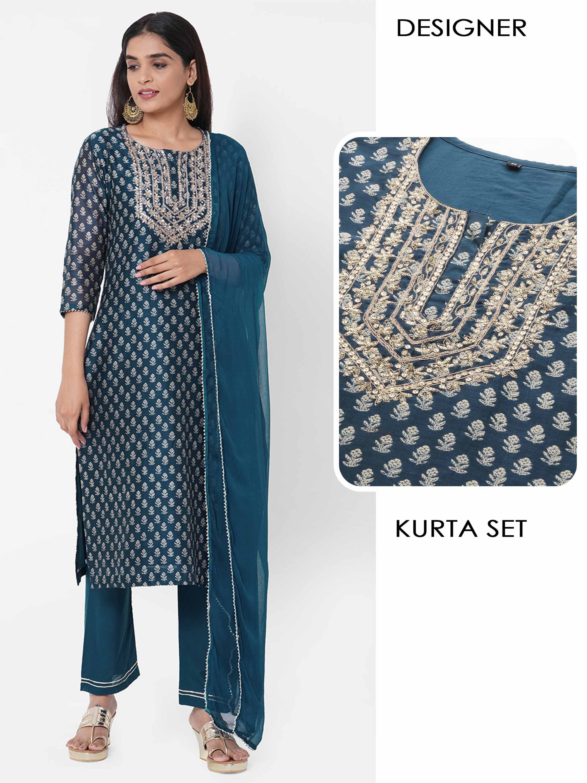 Floral Printed & Embellished Kurta with Solid Pant with solid Dupatta - Blue