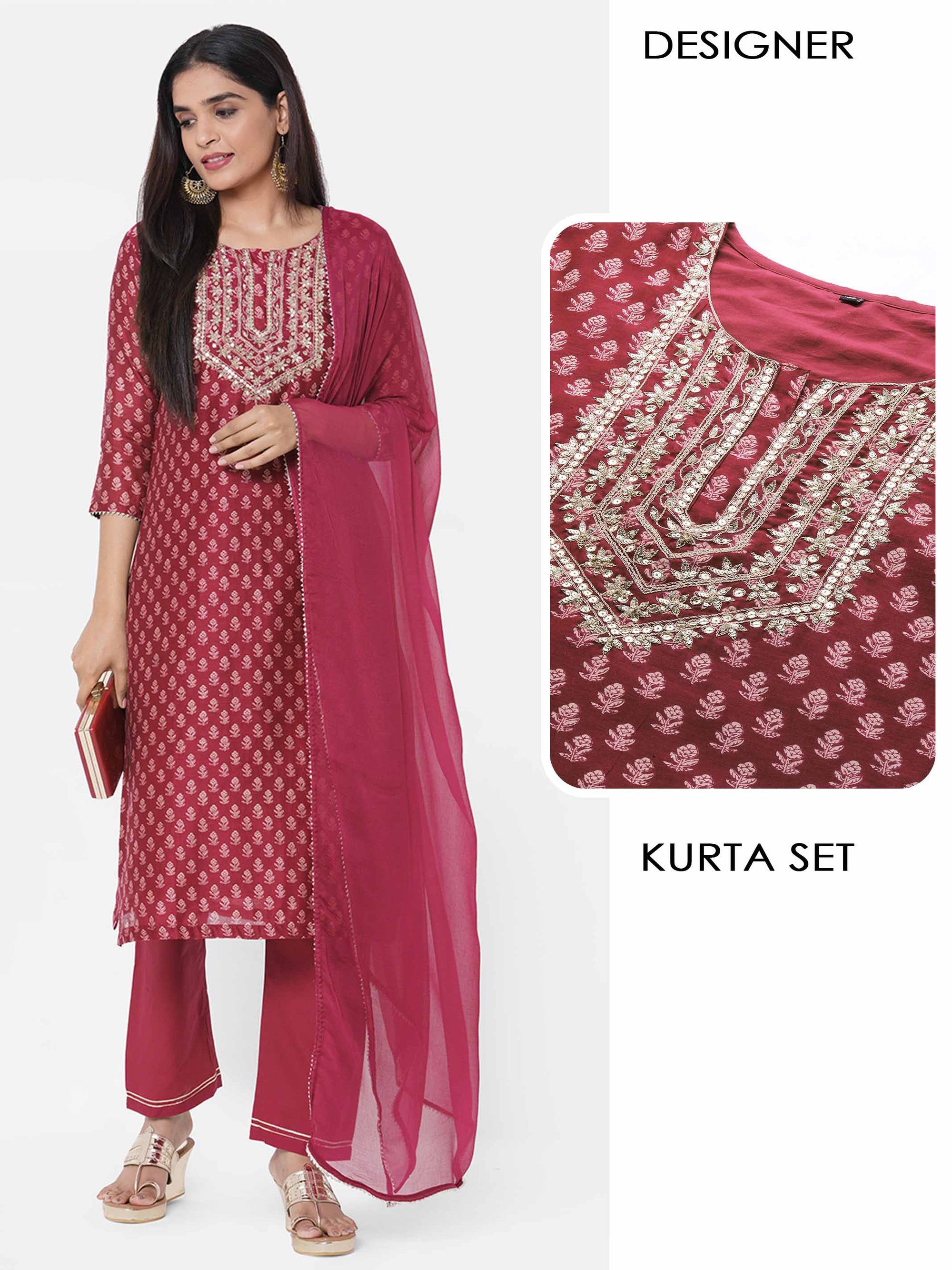 Floral Printed & Embellished Kurta with Solid Pant with solid Dupatta - Maroon