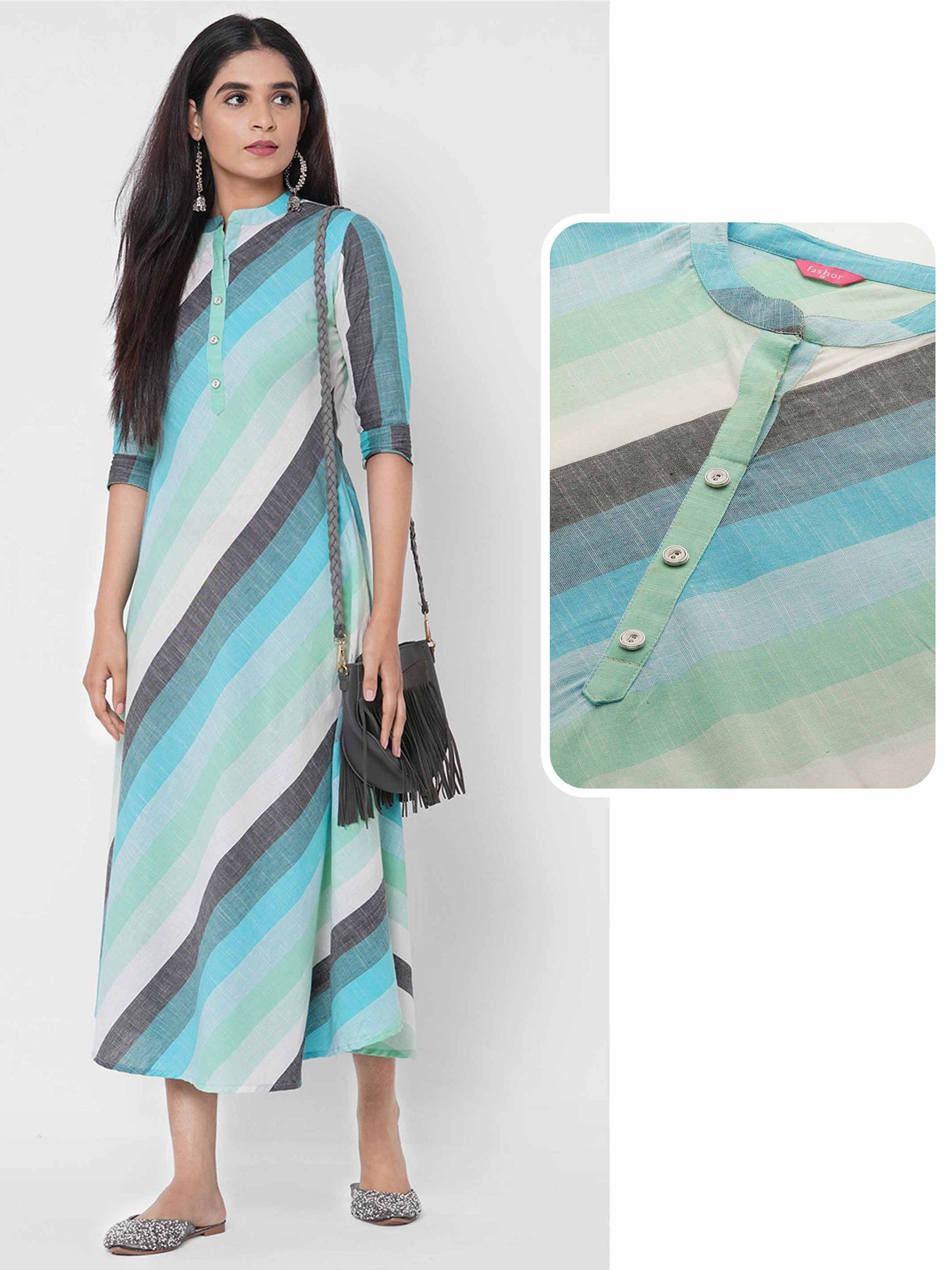 Vertical Stripe Printed A-Line Kurta – Multi
