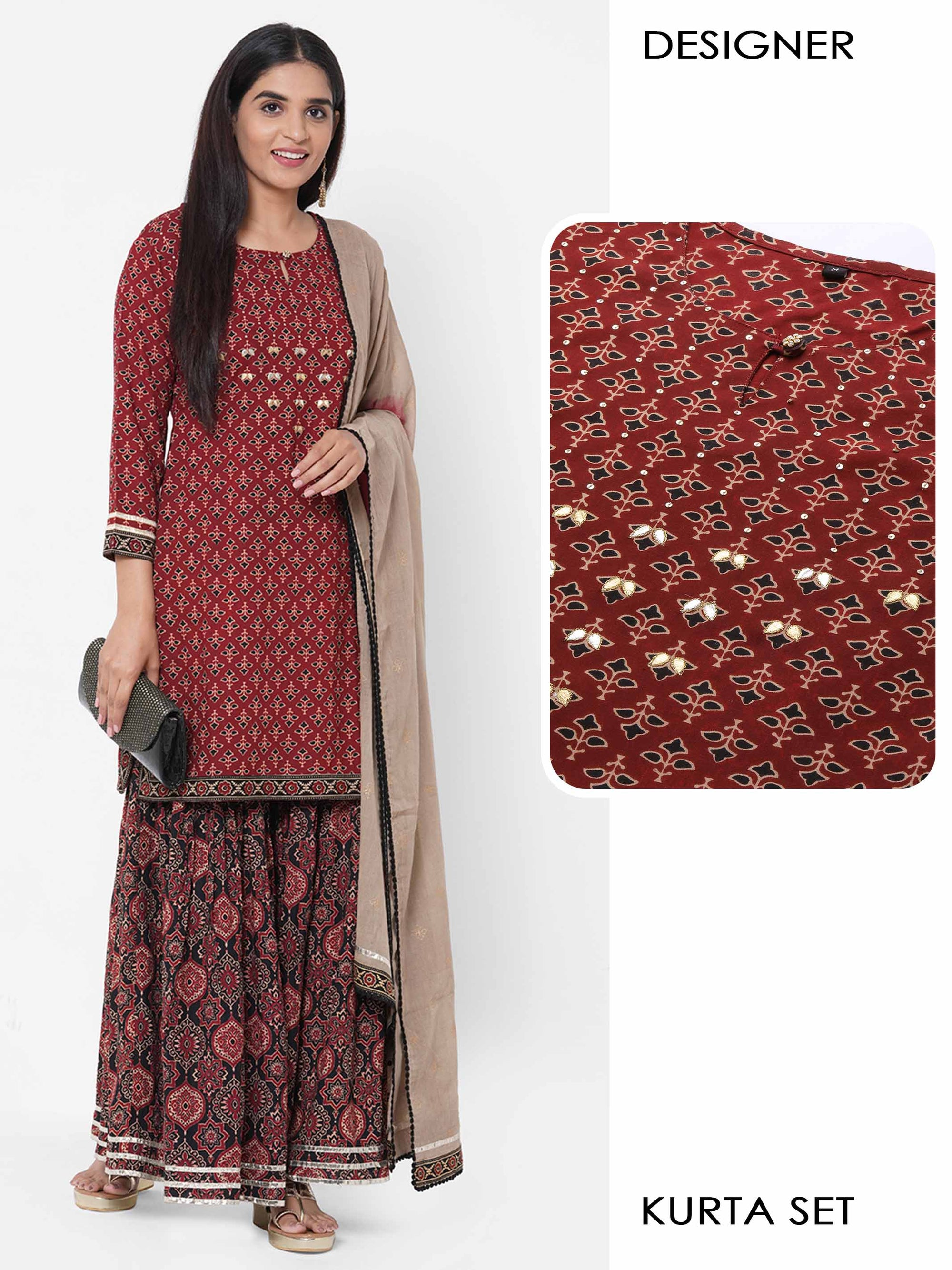 Ethnic Printed & Embellished Kurta with Ethnic printed Sharara & Foil printed Dupatta - Maroon