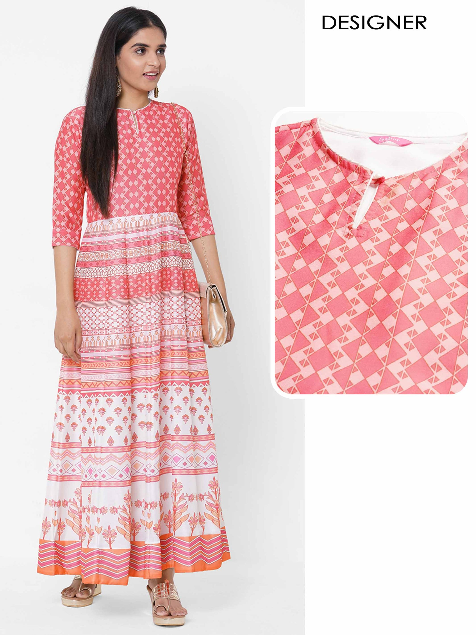 Ethnic Printed Paneled Dress - Peach