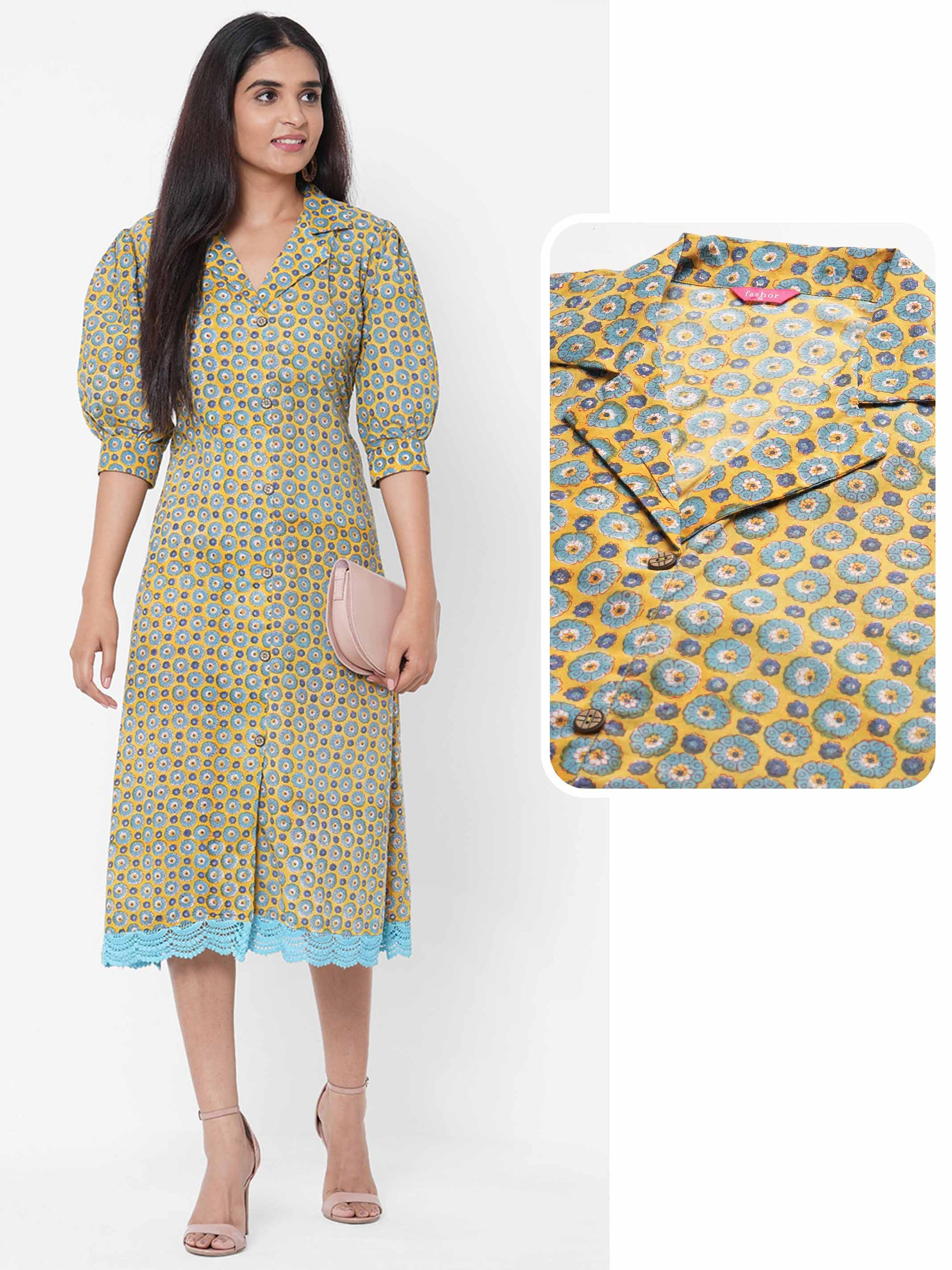 Dense Floral Printed A-Line Dress – Yellow