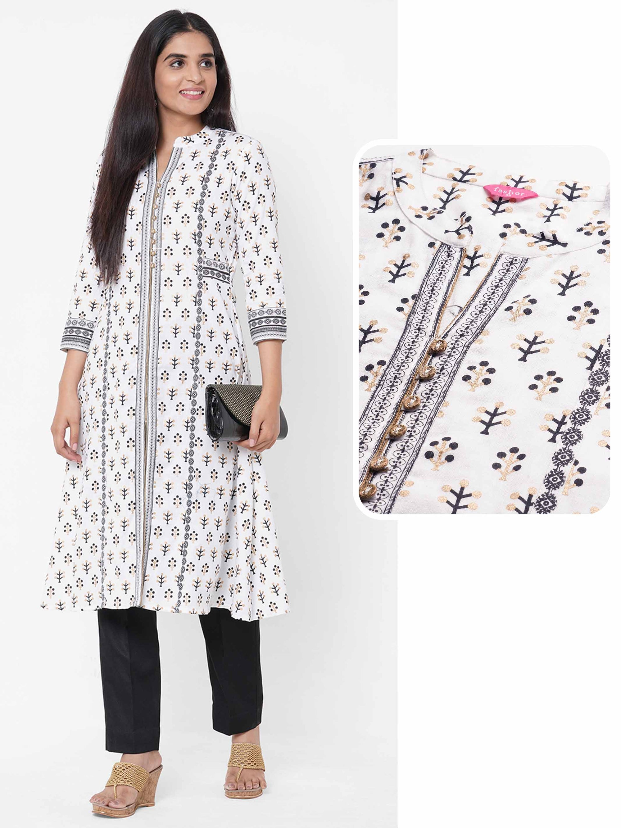 Tribal Foil Printed A-Line Kurta – White
