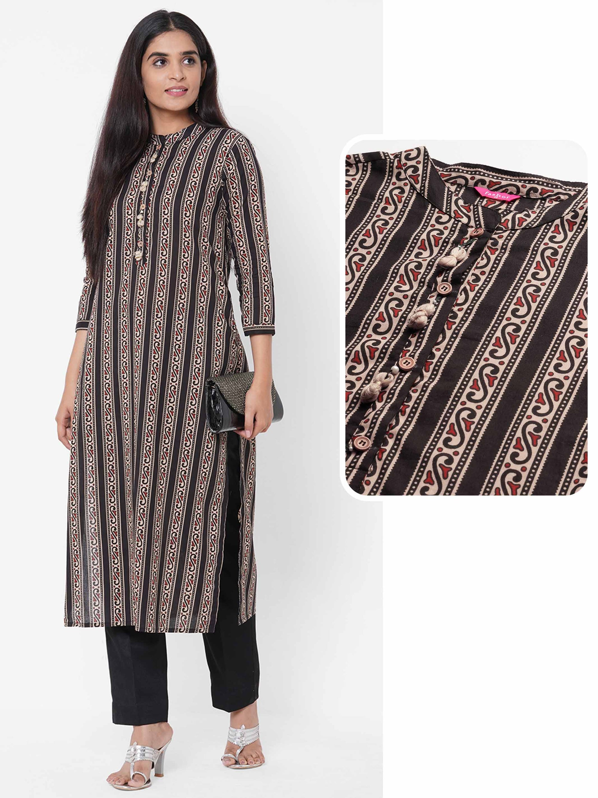 Ethnic Stripe Printed Straight Kurta – Black