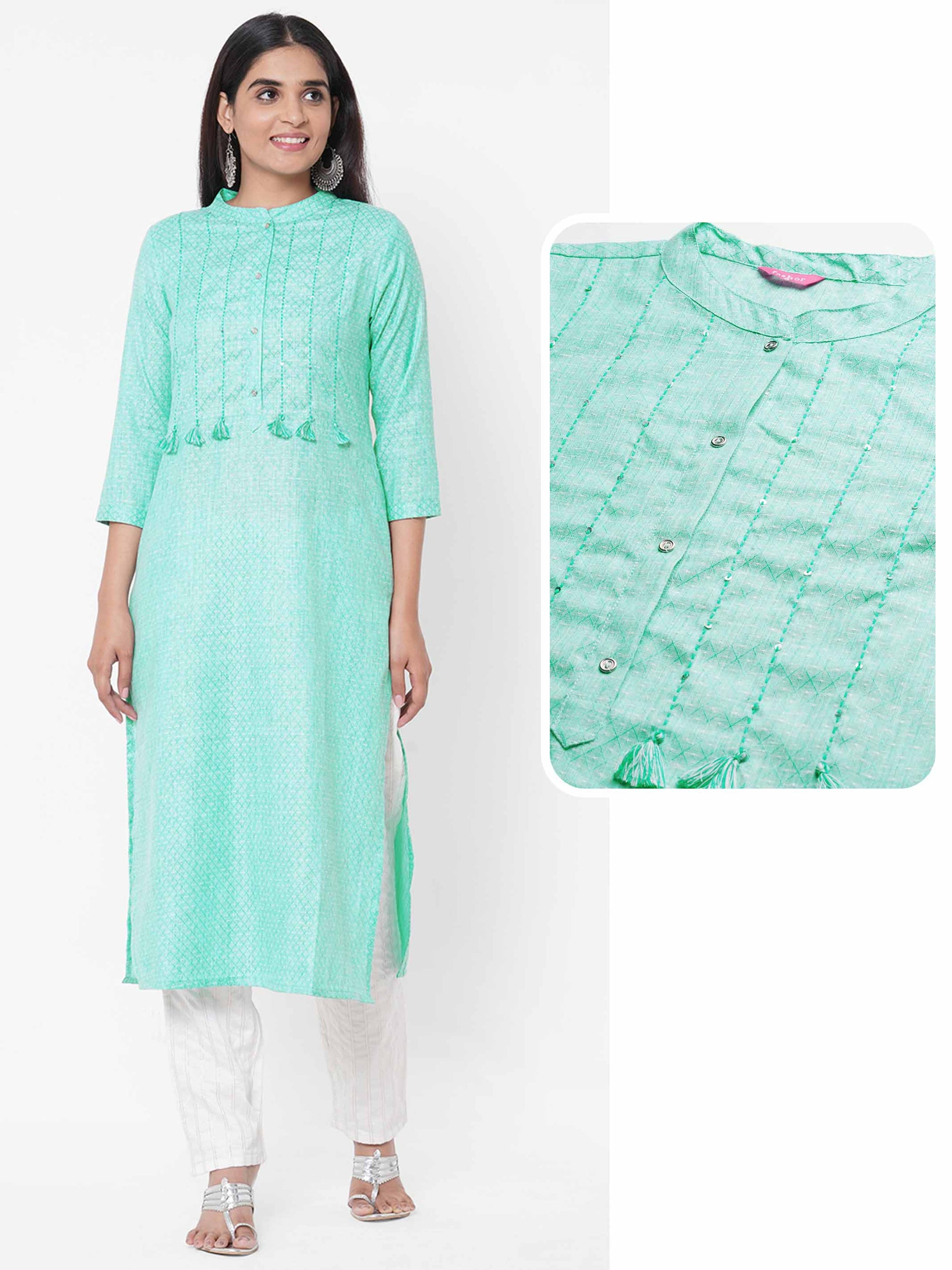 Lattice Woven Pattern Straight Kurta – Sea Green