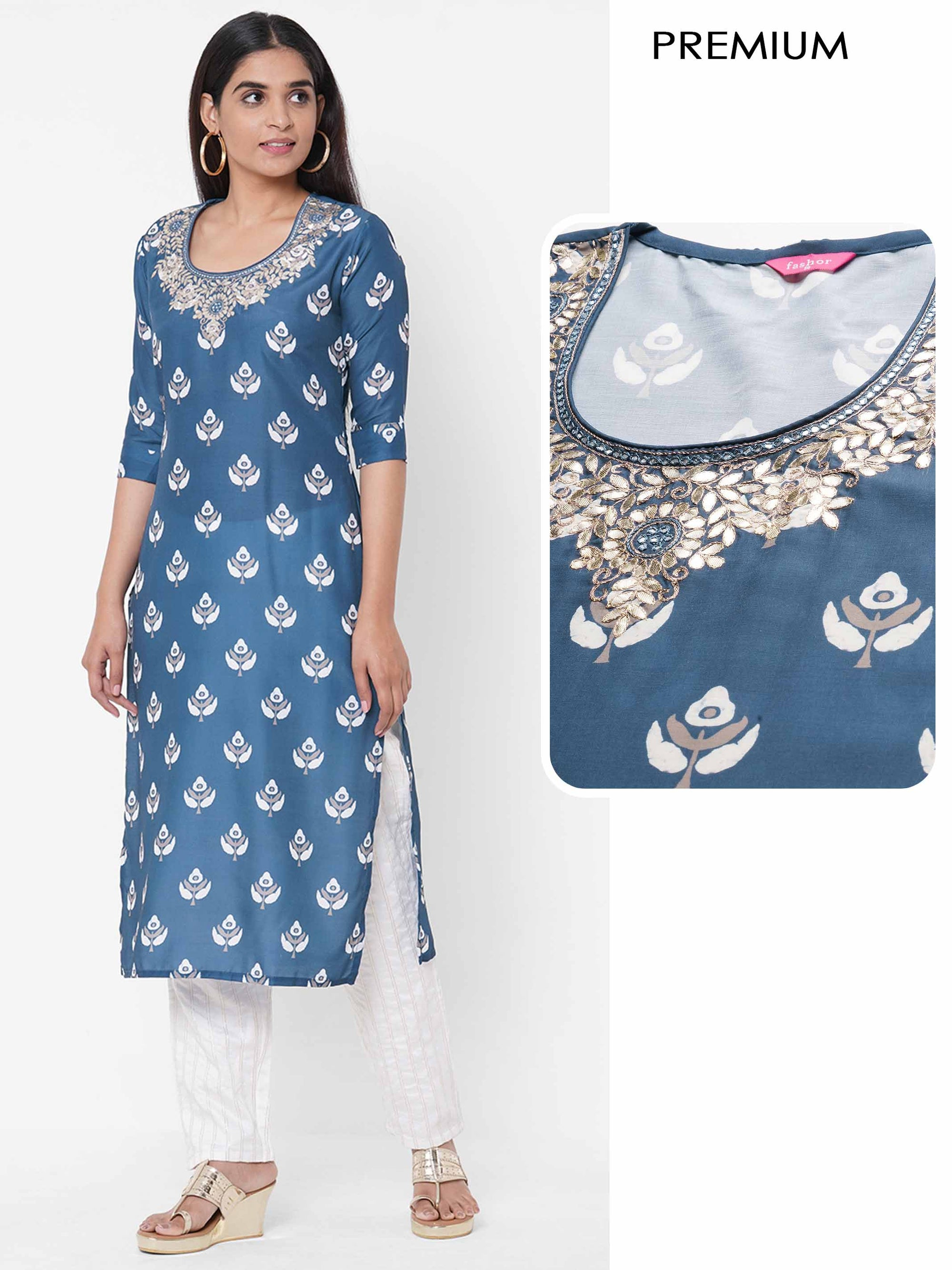 Ethnic Printed & Heavy Embellished Kurta - Navy Blue