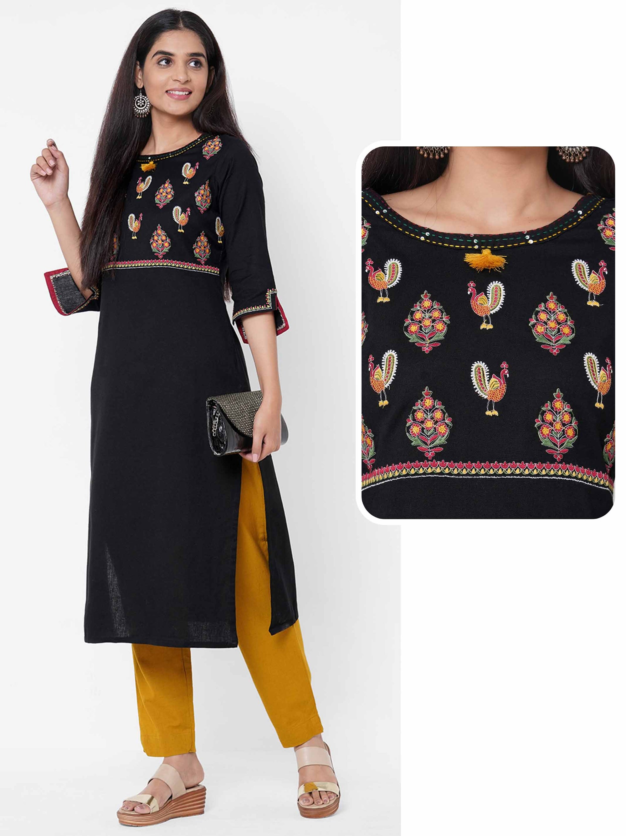 Floral & Peacock Embroidered Kurta - Black