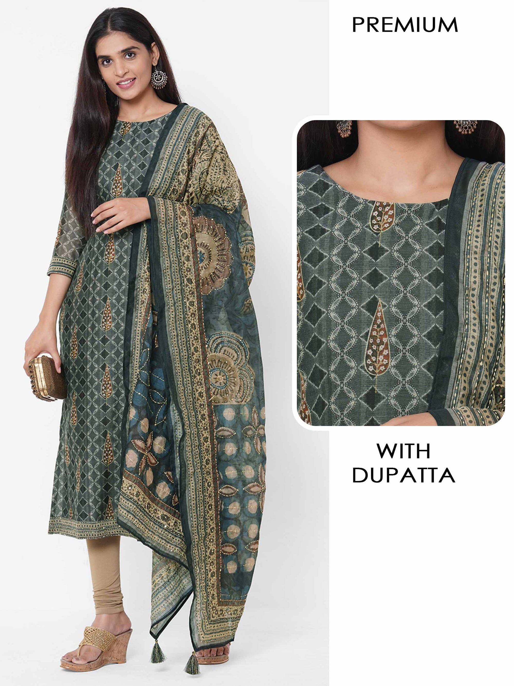 Ethnic Printed Kurta with Printed & Embroidered Dupatta – Charcoal