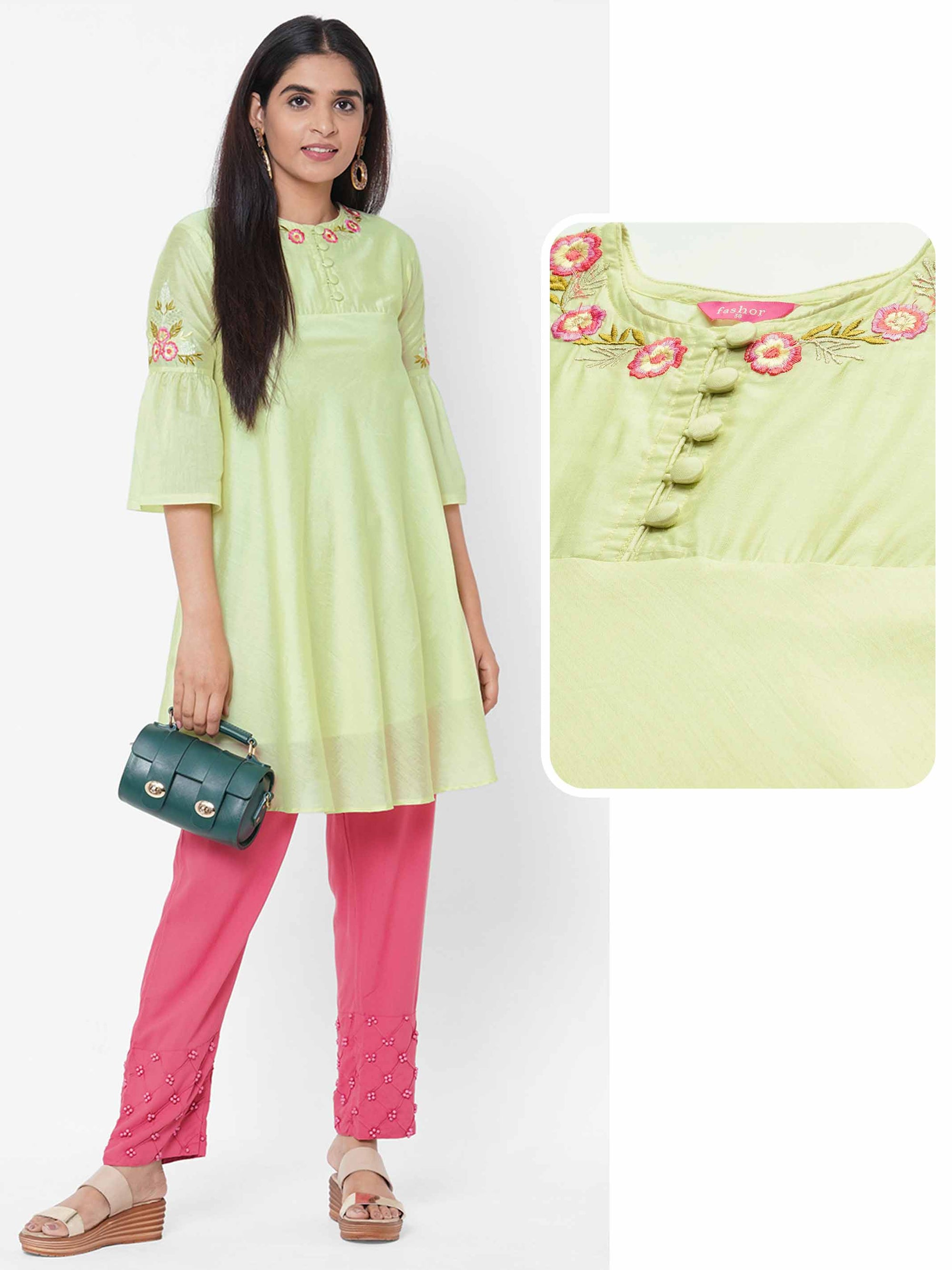 Floral Embroidered A-Line Kurti - Lemon Green