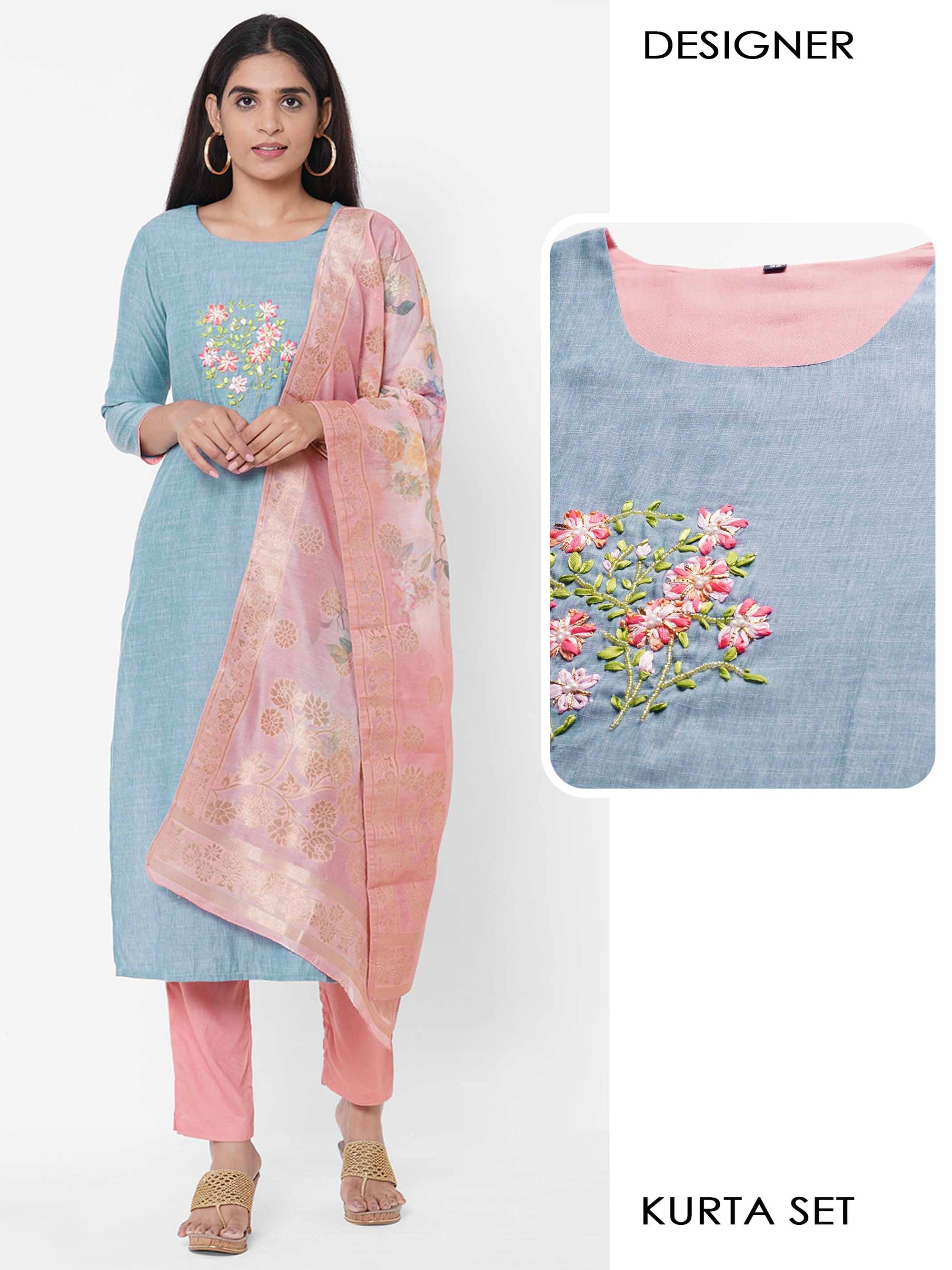 Floral Embroidered Kurta with Solid Pant with Floral printed Dupatta & 2-Ply Mask - Sky Blue