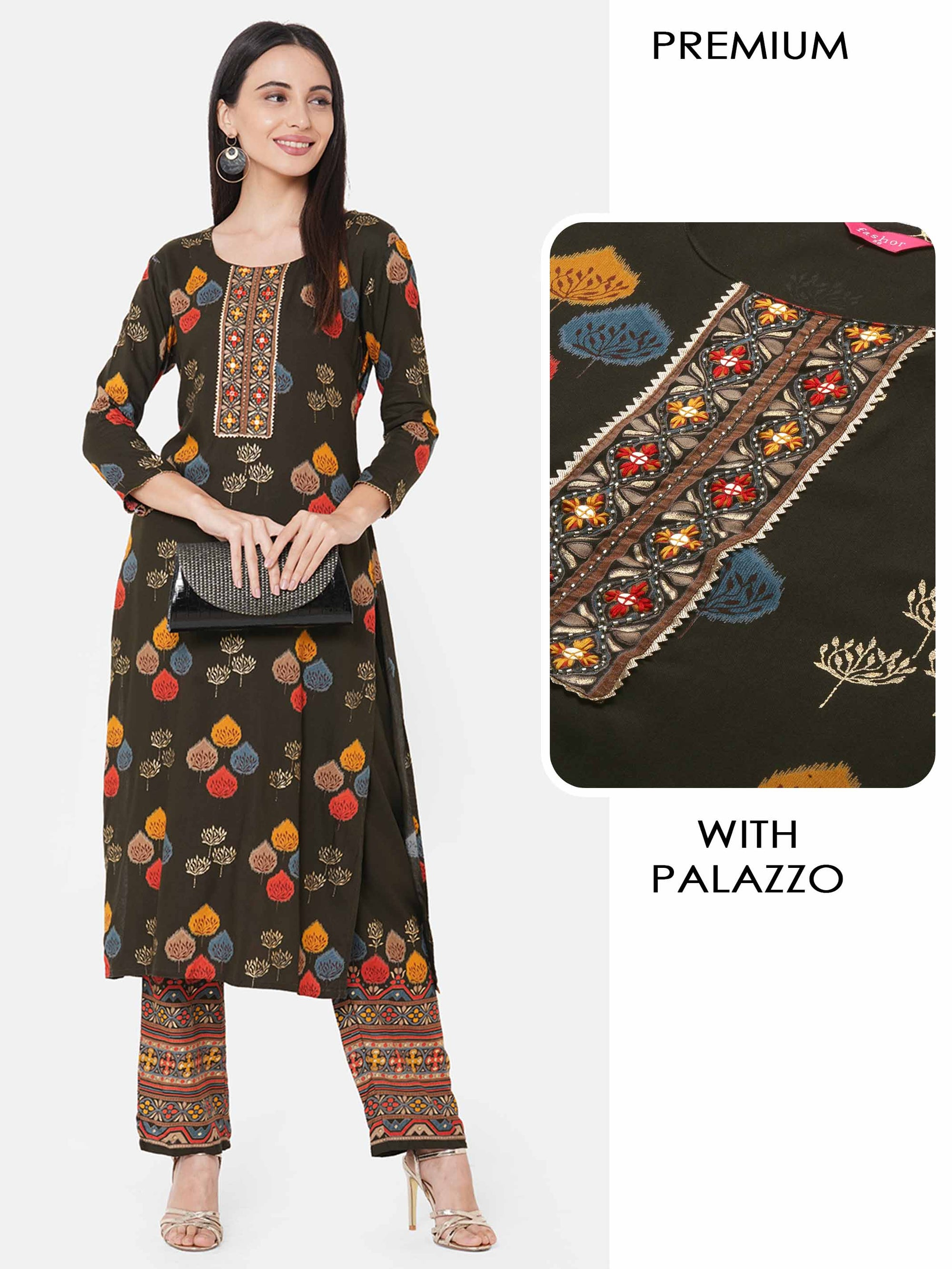 Ethnic Mix Foil printed Kurta with printed Palazzo - Dark Green