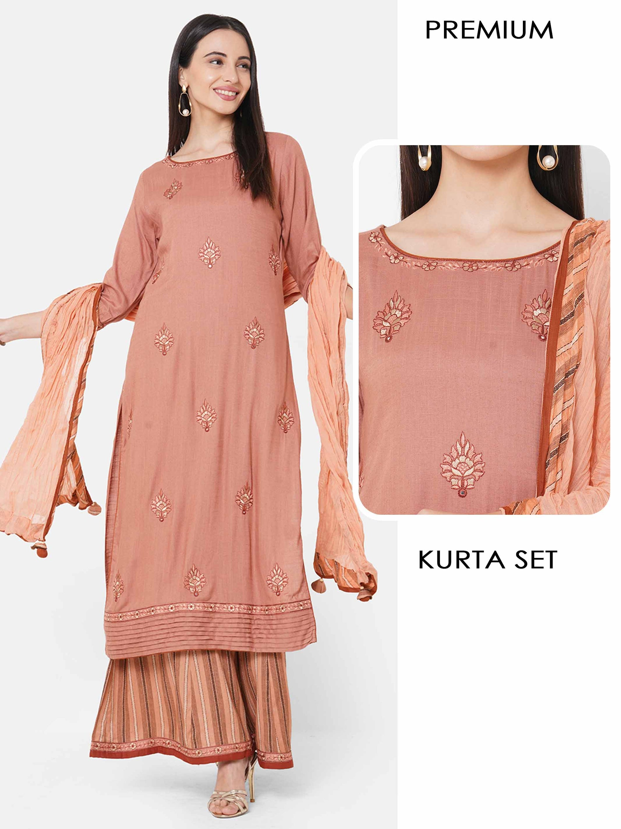 Floral Embroidered Kurta with Woven Striped Palazzo with Solid Dupatta - Rose Dawn