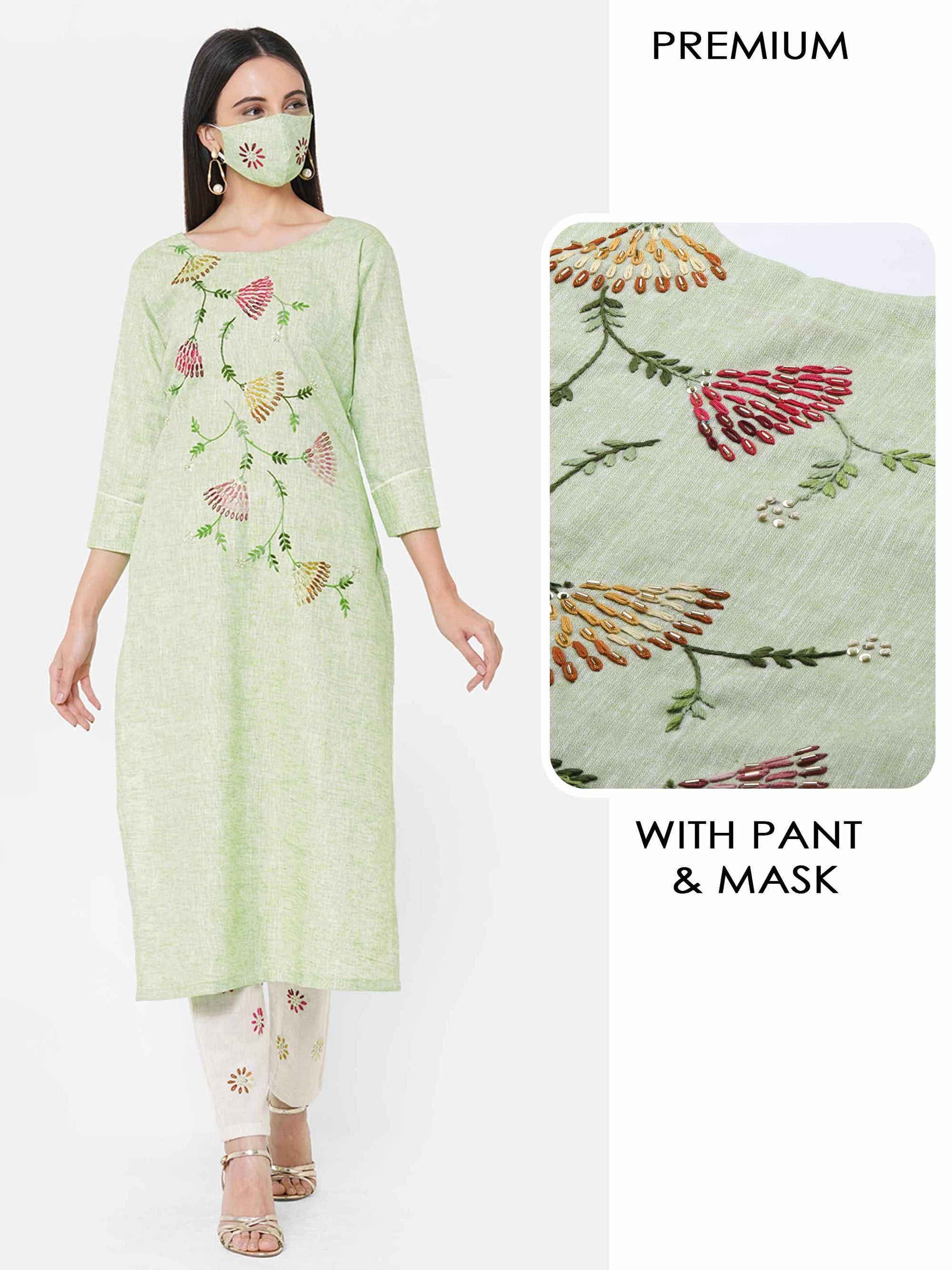 Floral Embroidered Kurta with Floral Embroidered Pant & 2-Ply Mask - Pastel Green