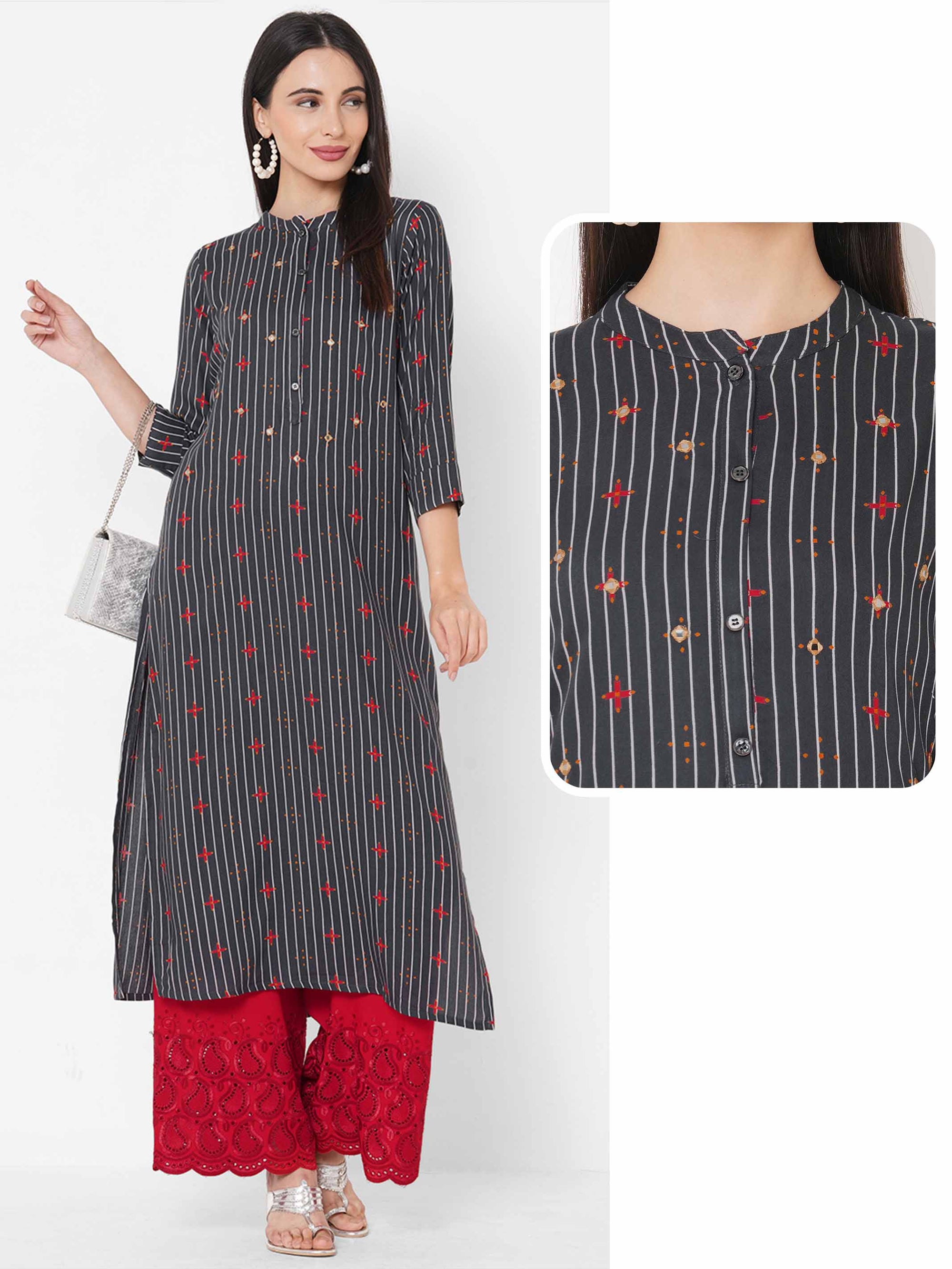 Stripe & Ethnic Mix Printed Straight Kurta - Grey