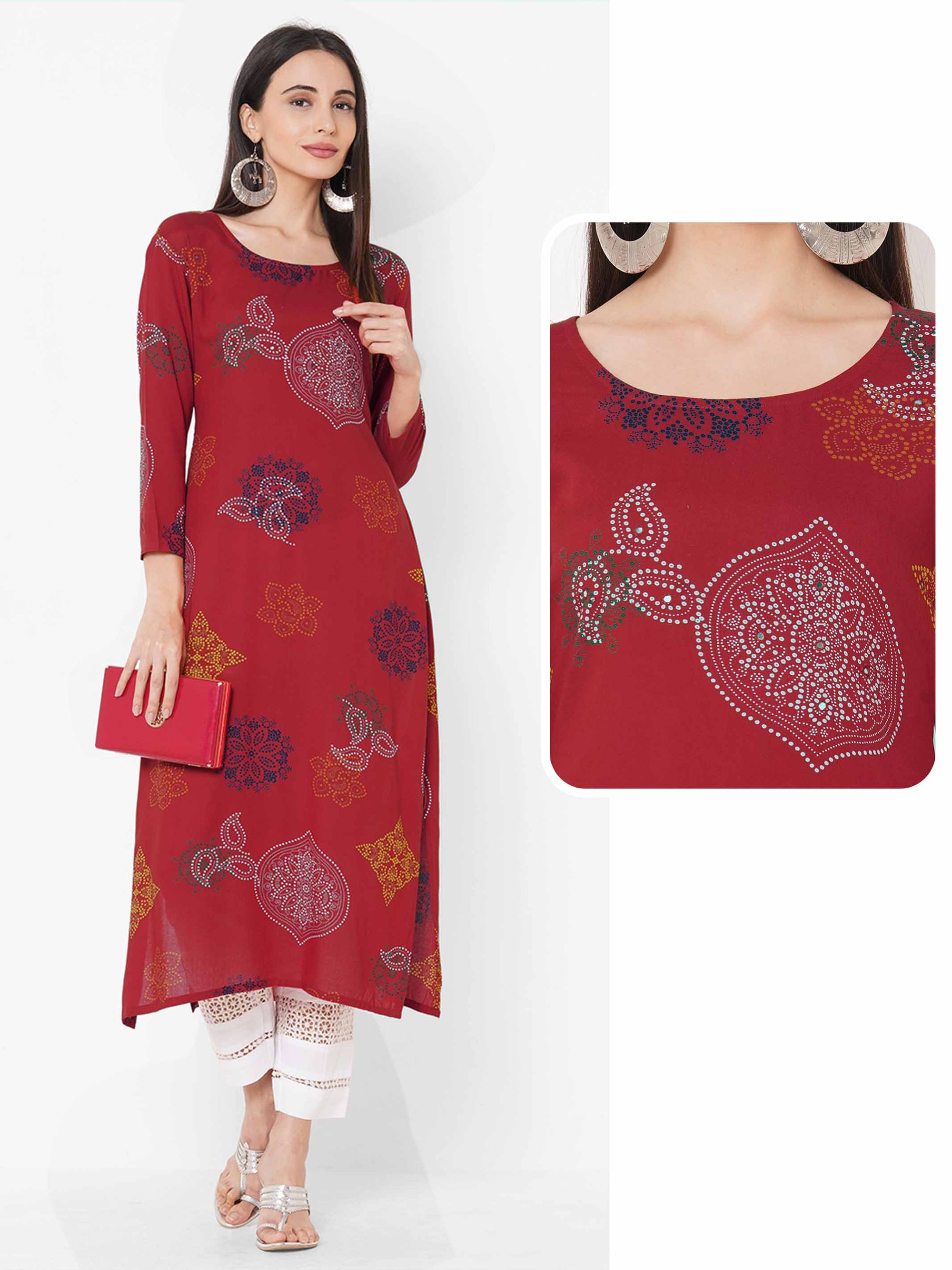 Ethnic Mix Printed Straight Kurta - Red