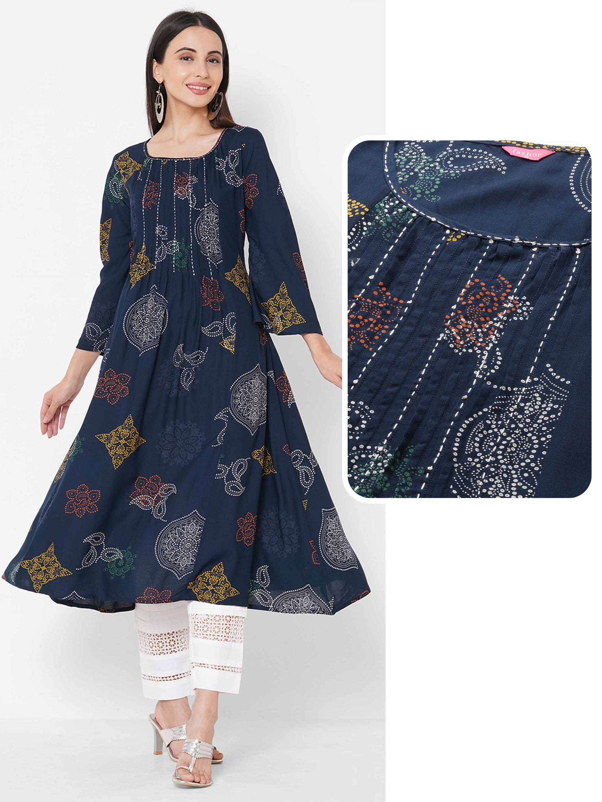 Ethnic Mix Printed & Pleated A-Line Kurta - Navy Blue