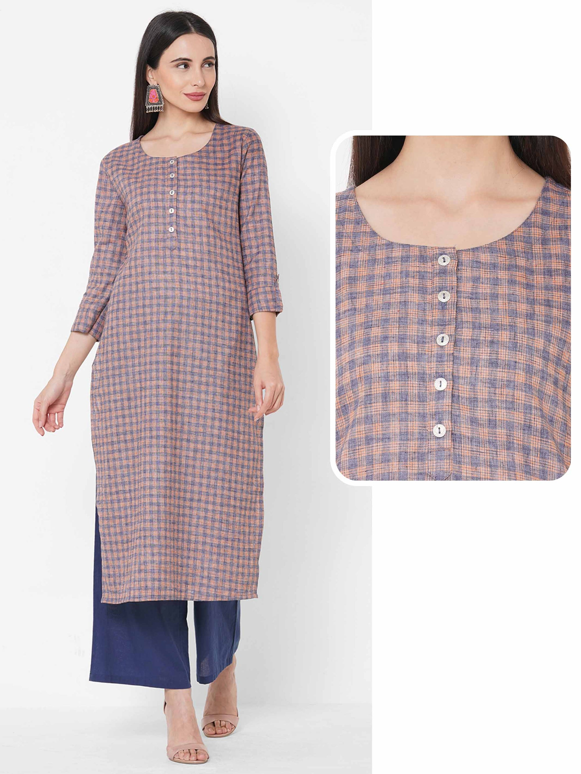 Woven Checks Straight Kurta - Orange