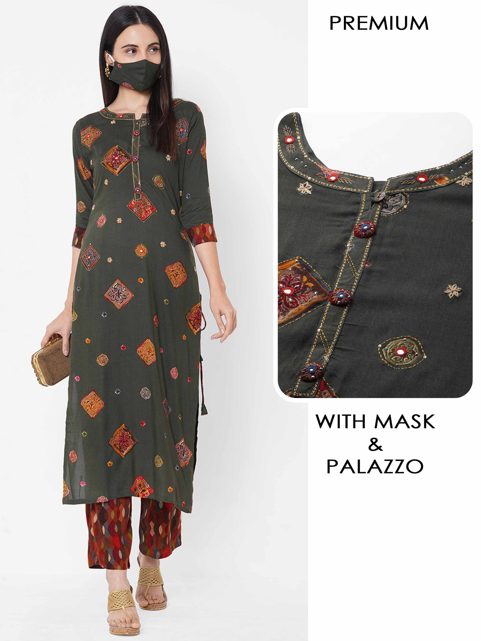 Ethnic Mix Printed Kurta with Geometrical Printed palazzo & 2-ply Mask - Green