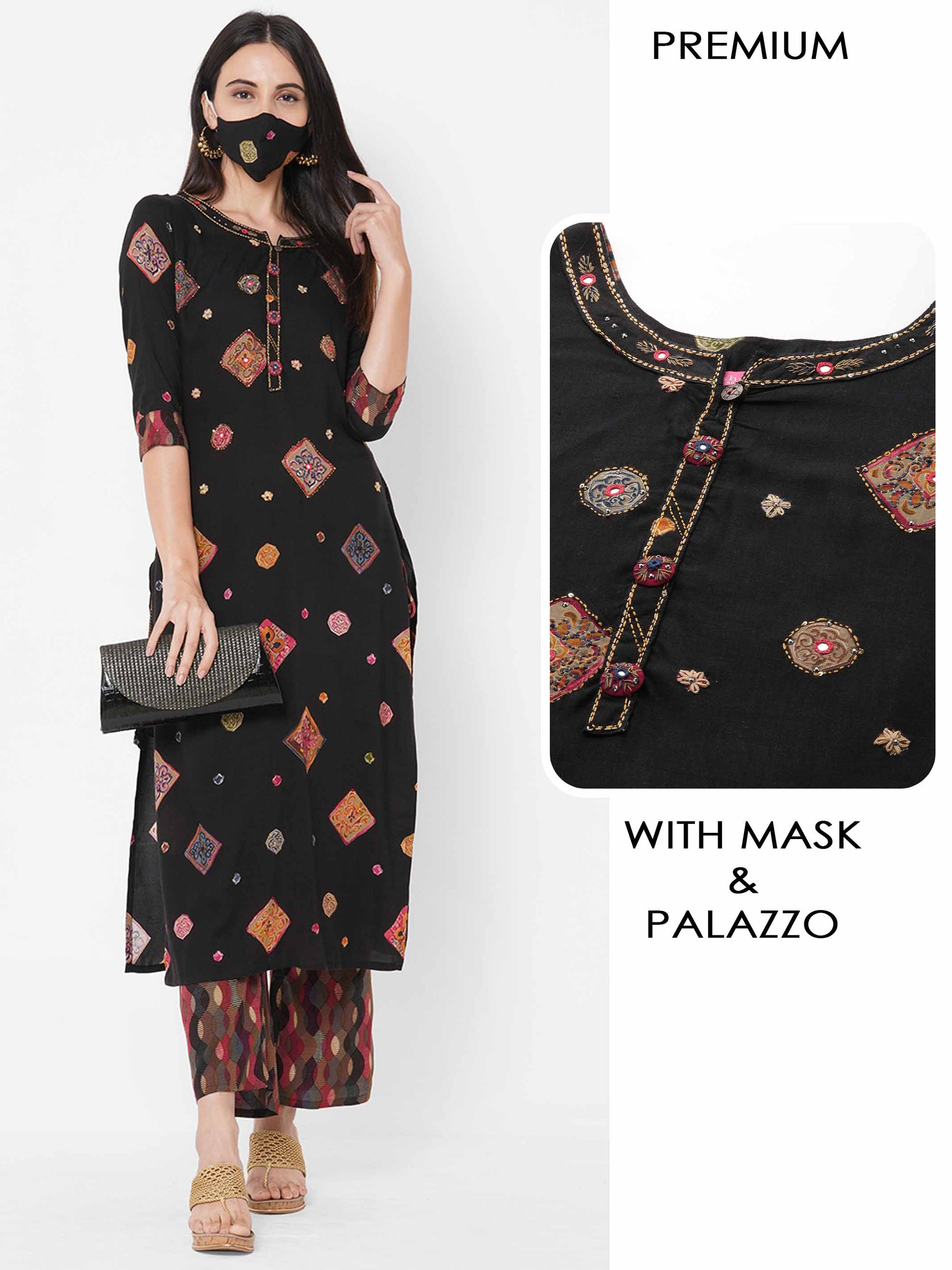 Ethnic Mix Printed Kurta with Geometrical Printed palazzo & 2 ply Mask - Black
