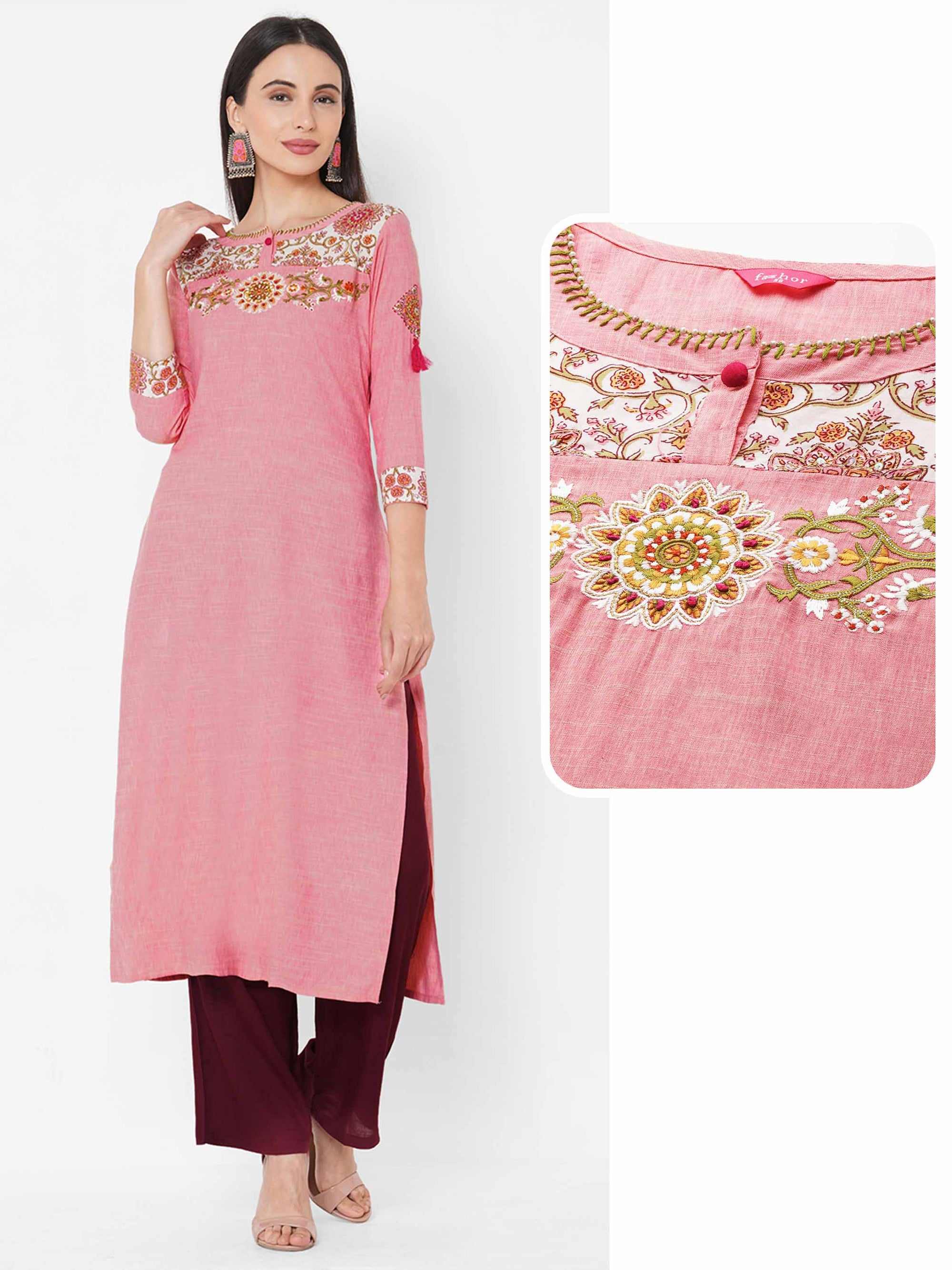 Floral Printed & Embroidered Straight Kurta with solid Palazzo - Peach Pink