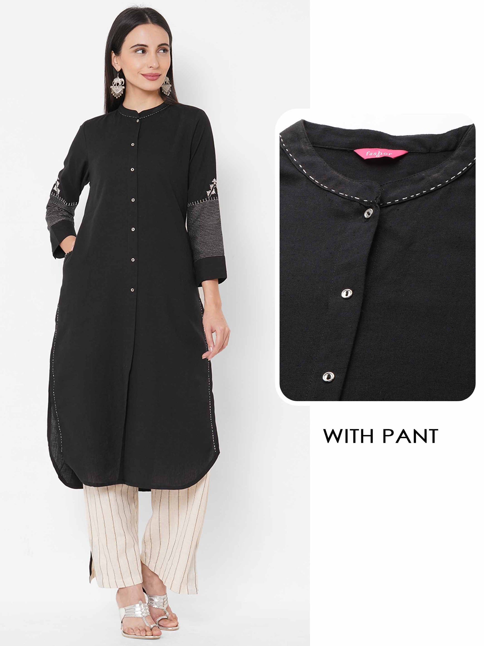 Solid Black Kurta with Striped Pant - Black