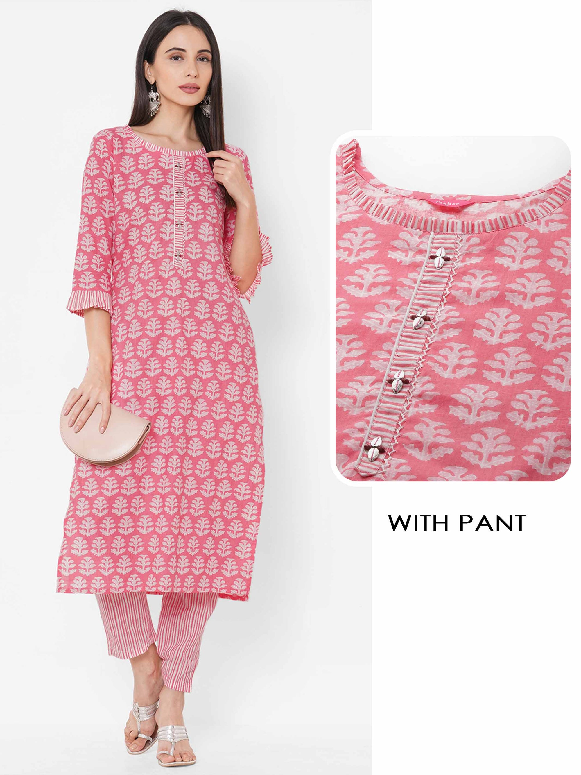 Floral Printed Straight Kurta with Stripe Printed Pant - Pink