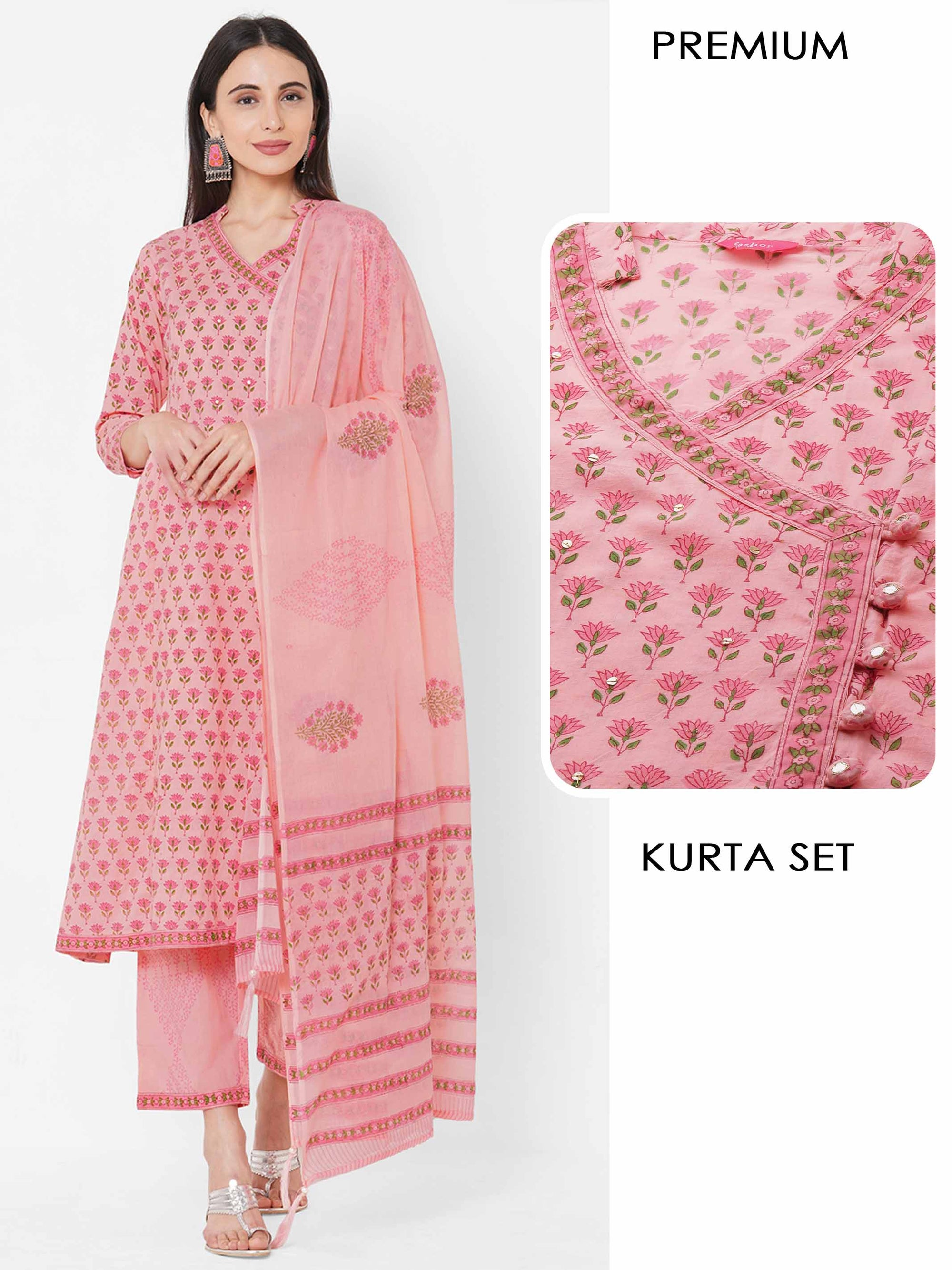Floral Printed angrakha style Kurta with solid Palazzo with Mix Mix Printed - Pink