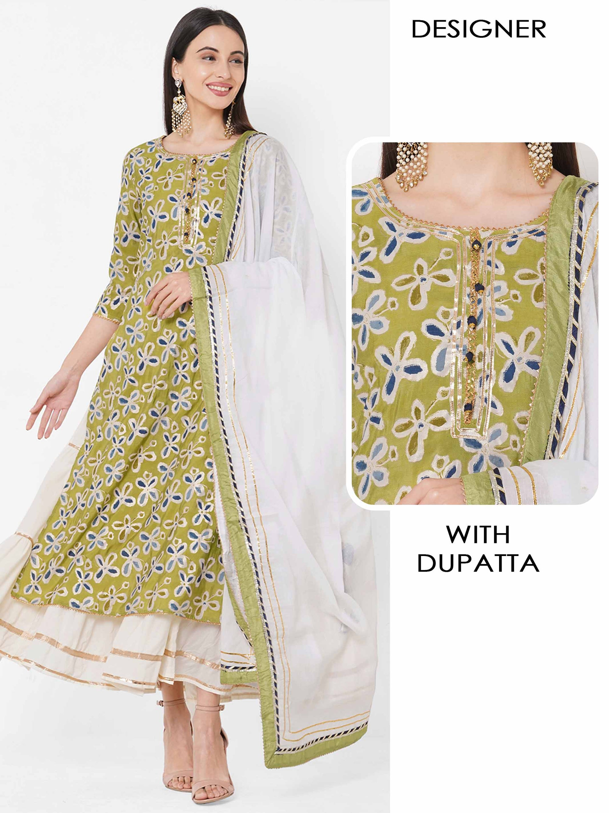 Floral Printed Kurta with Tiered Flare Slip Maxi & Gota Embellished Dupatta – Green