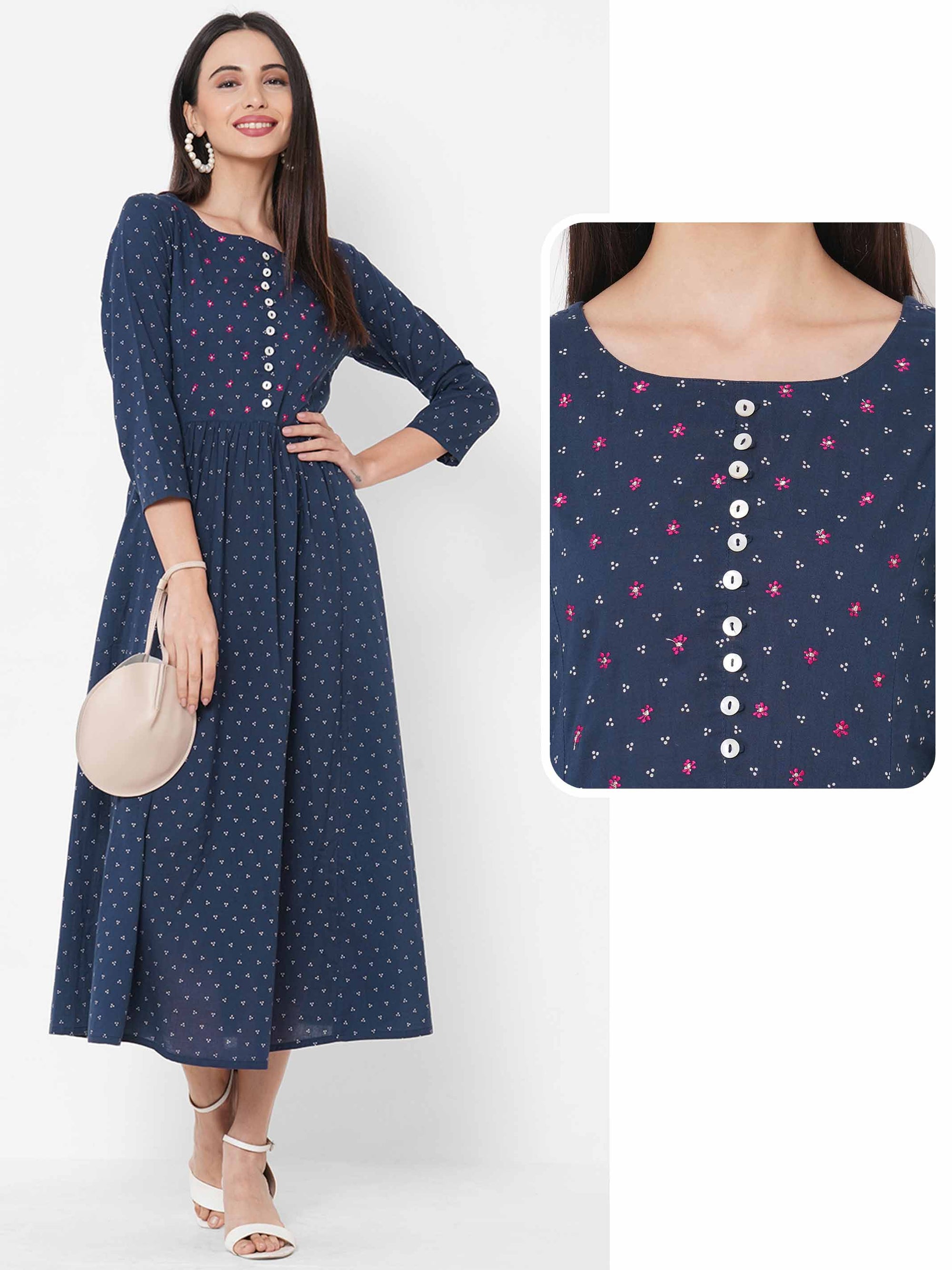 Polka Dot Printed Gathered Flared Kurta – Navy Blue