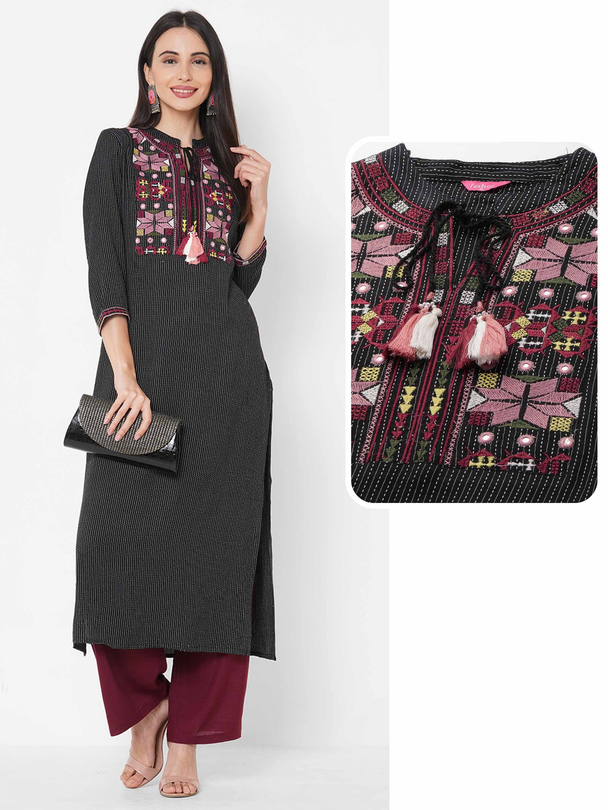 Woven Kantha work with embroidered Yoke straight Kurta - Black
