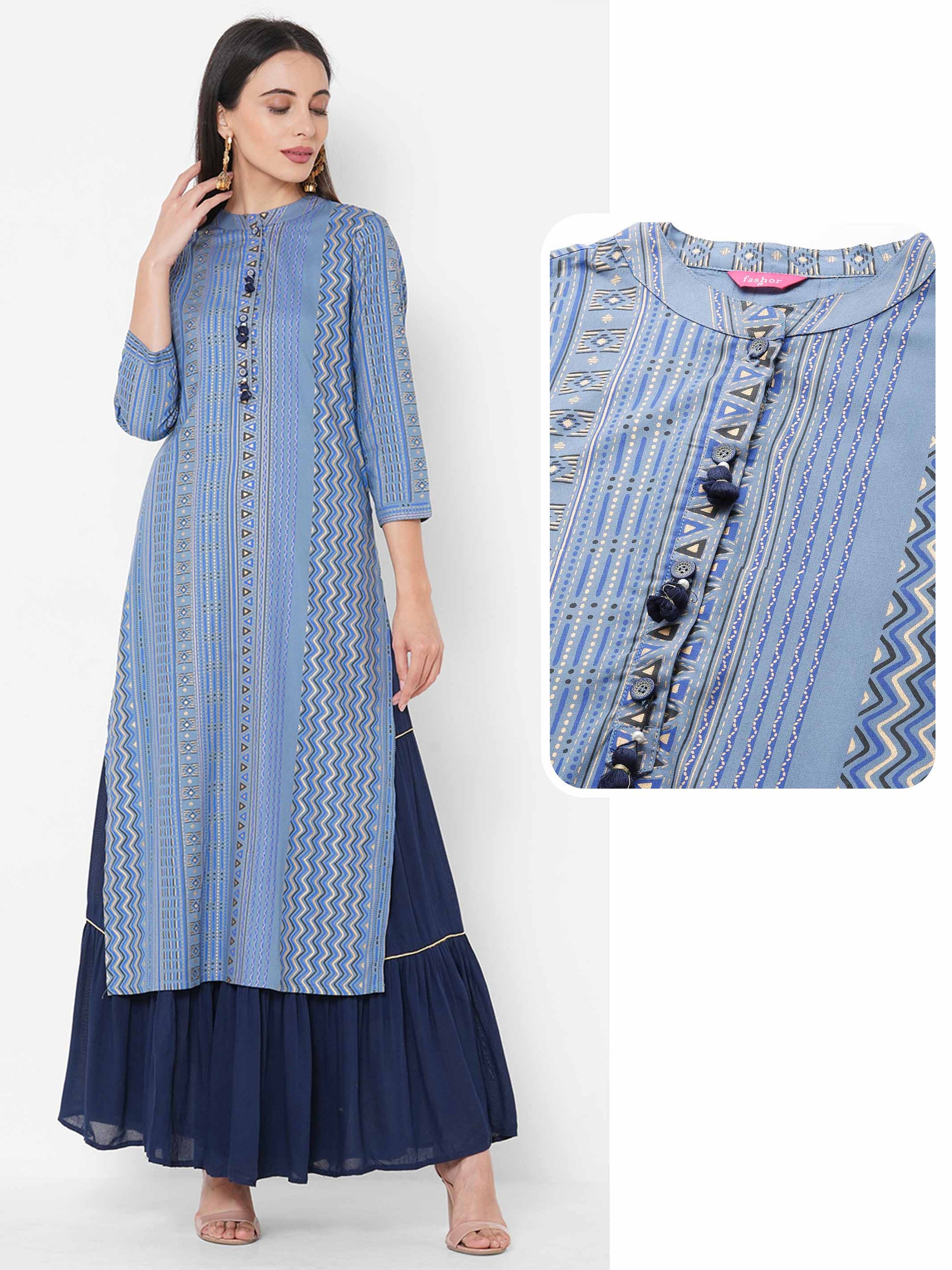 Tribal Foil Printed straight Kurta - Cornflower Blue